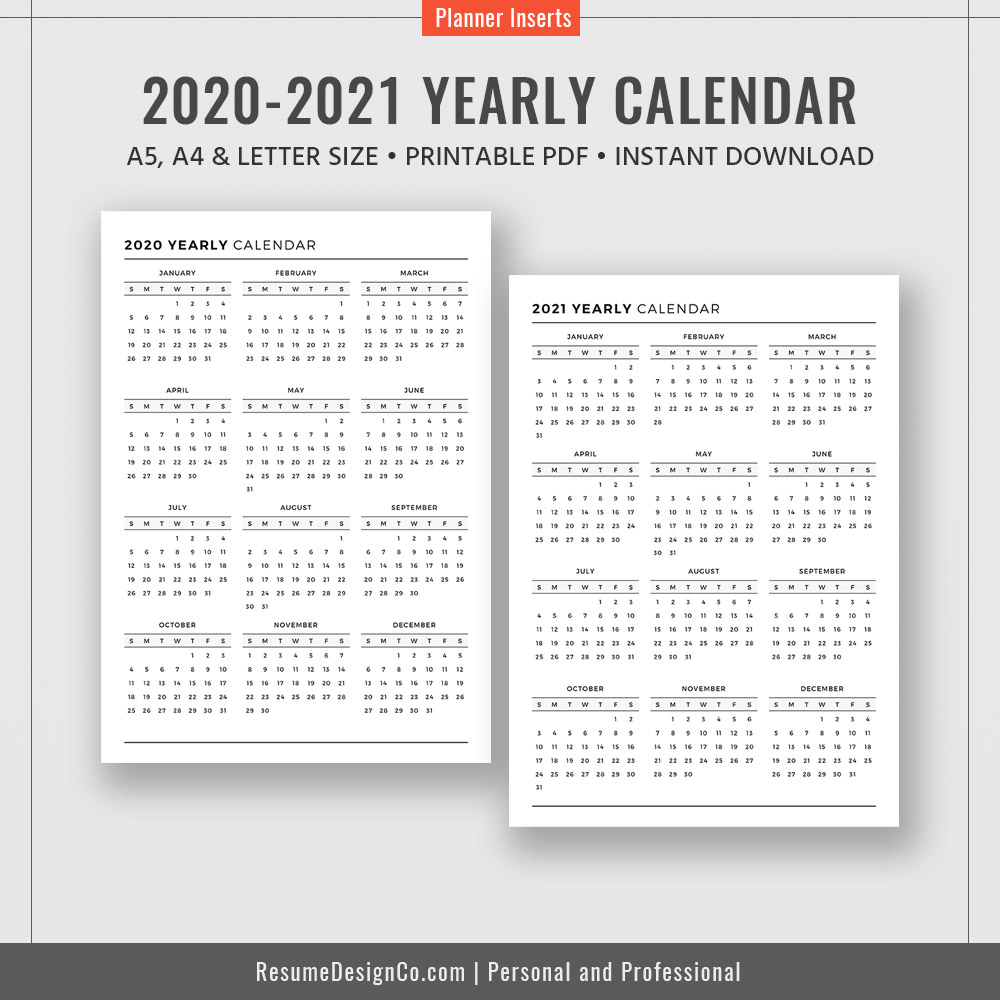 2020-2021 Yearly Calendar, Calendar 2020, Calendar 2021, A4, A5, Letter  Size, Filofax A5, Planner Design, Planner Inserts, Planner Printable,  Instant