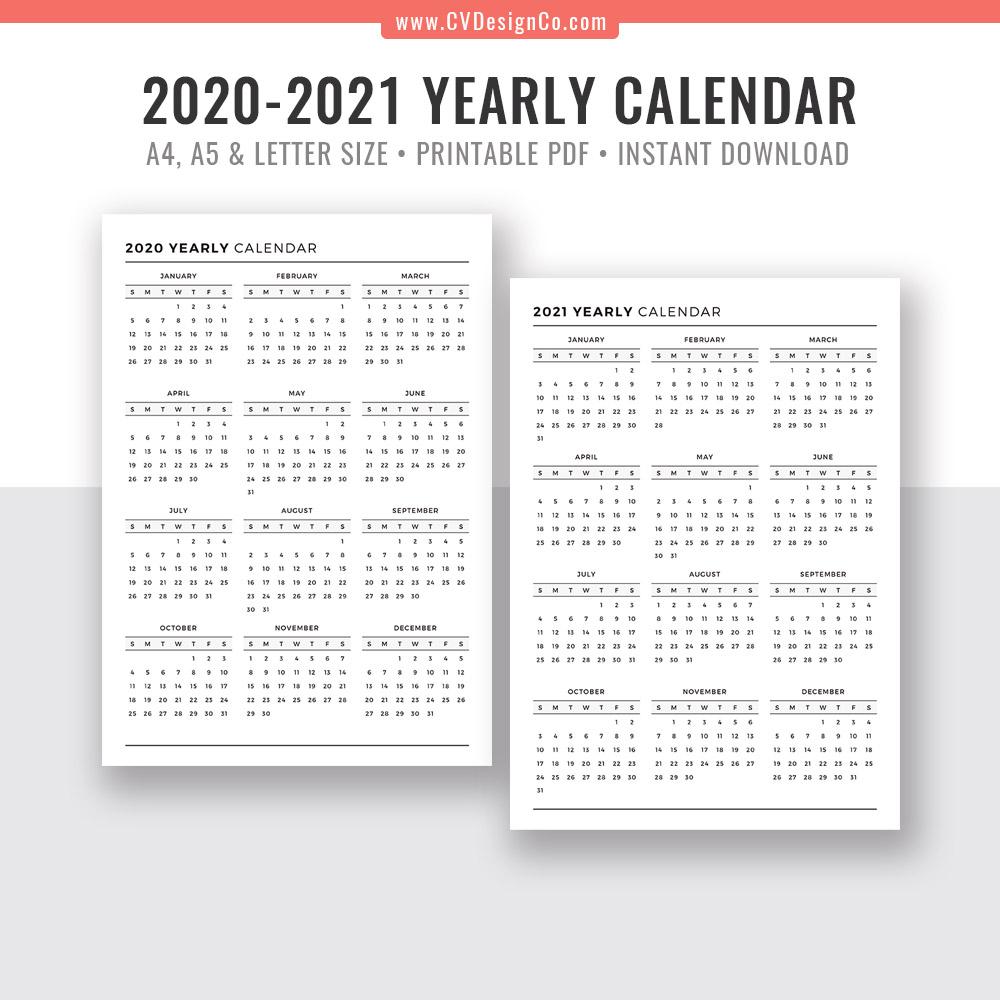 Printable Calendar Year At A Glance 2020 | Calendar ...