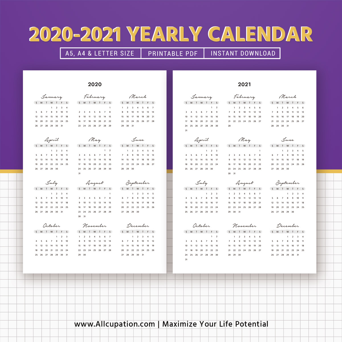 2020-2021 Yearly Calendar, Year At A Glance, Printable