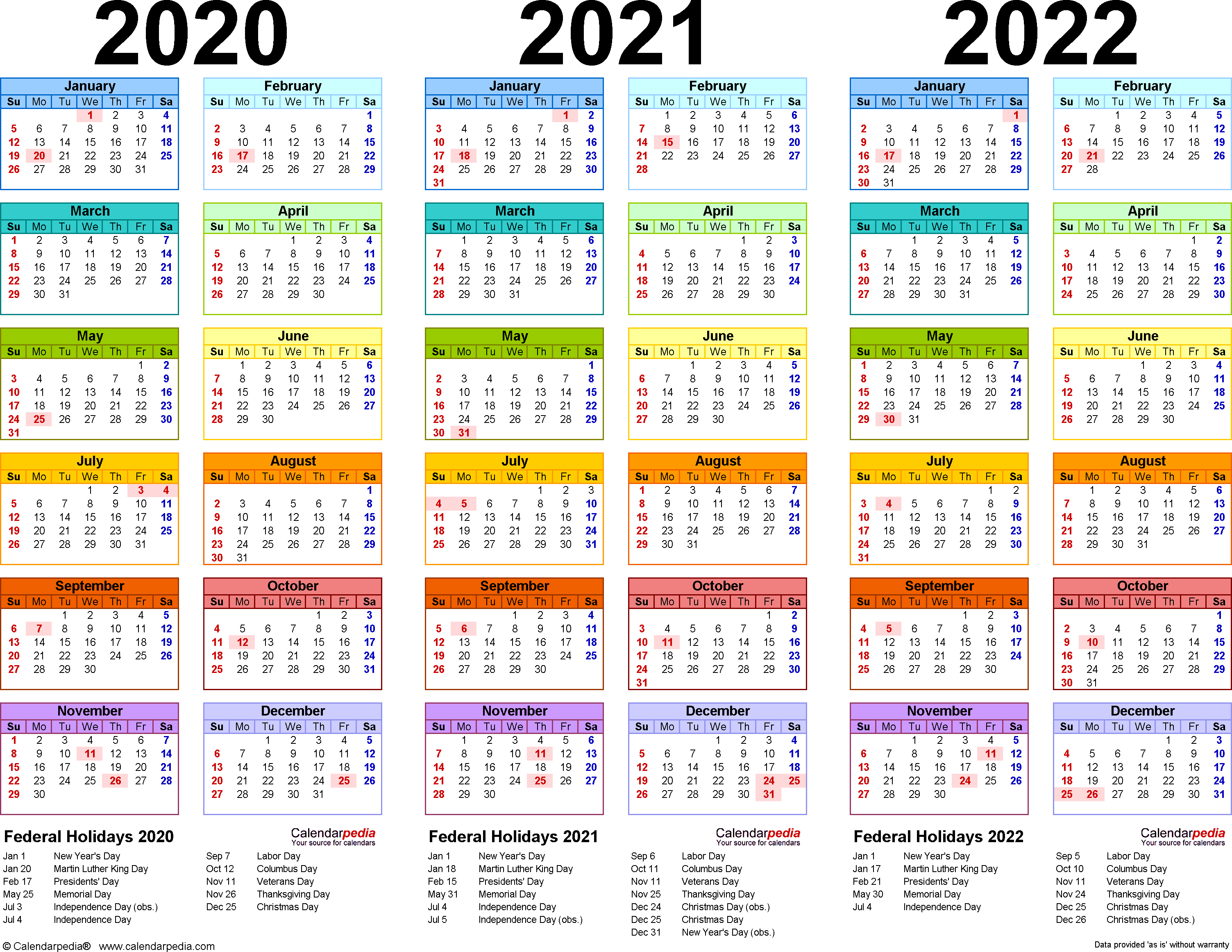2020-2022 Three Year Calendar - Free Printable Word Templates