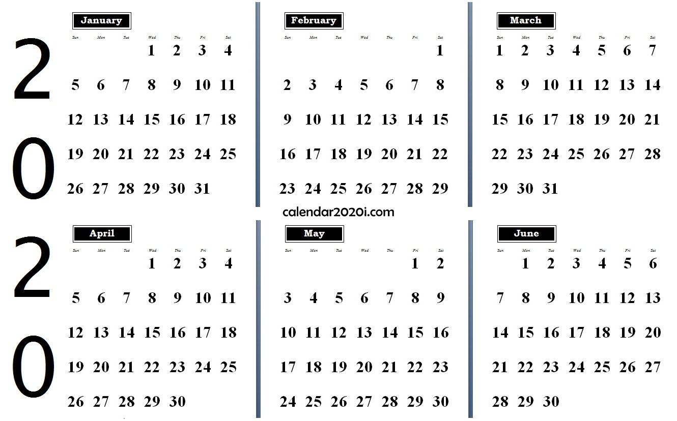 2020 6 Months Calendar From January To June | February Month