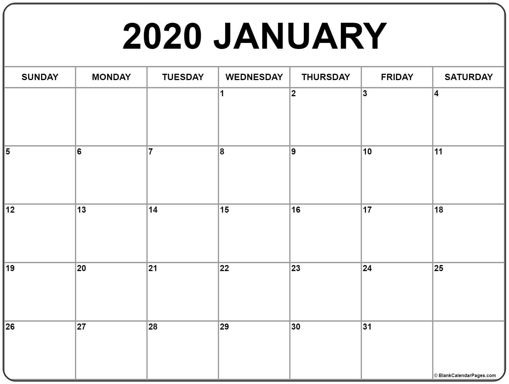 2020 Blank Calendar Canada | Monthly Printable Calender
