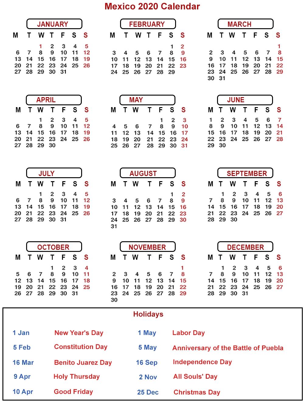 2020 Calendar 365 Pdf | Month Calendar Printable