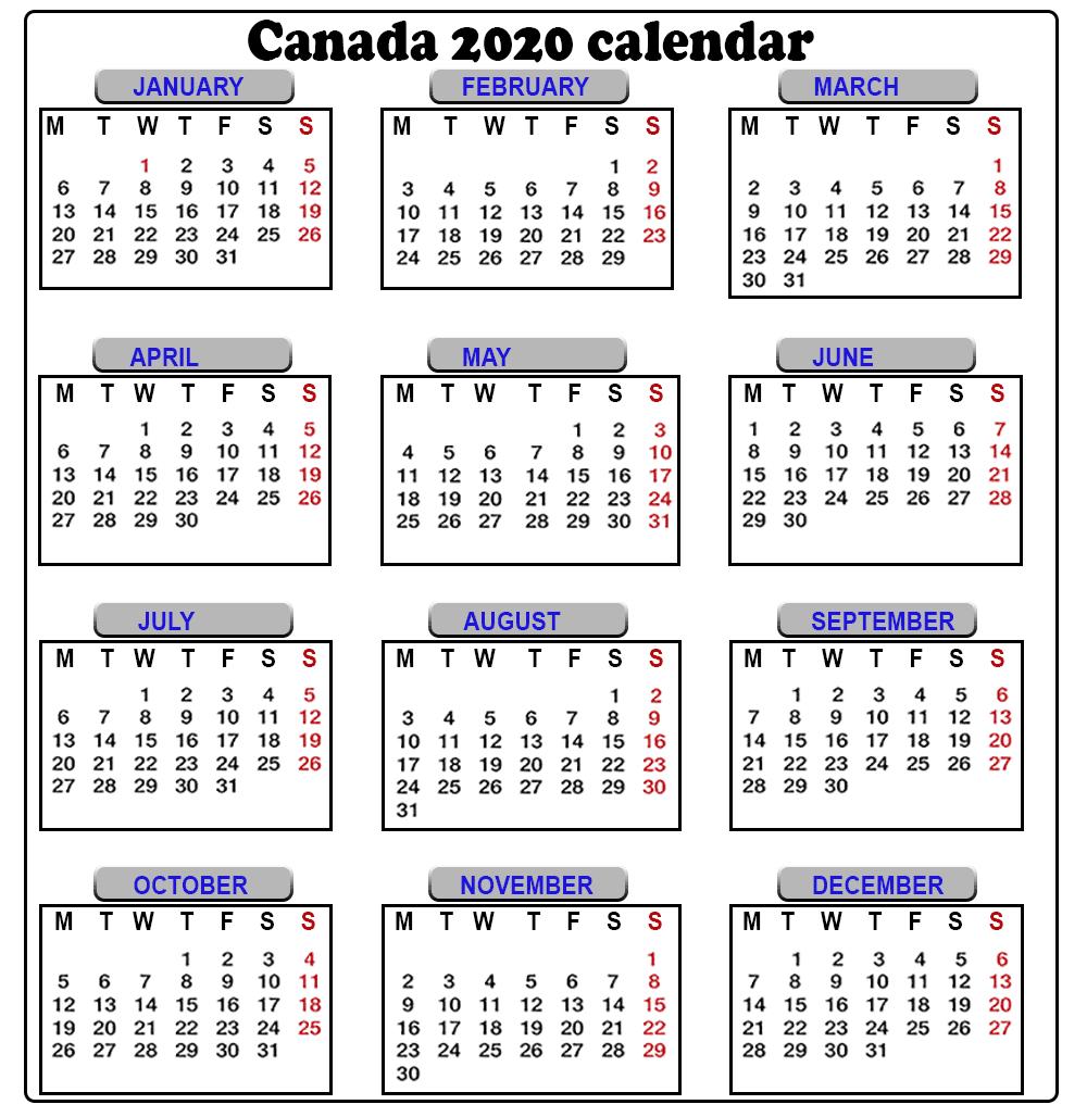 2020 Calendar Canada - Fitbo.wpart.co