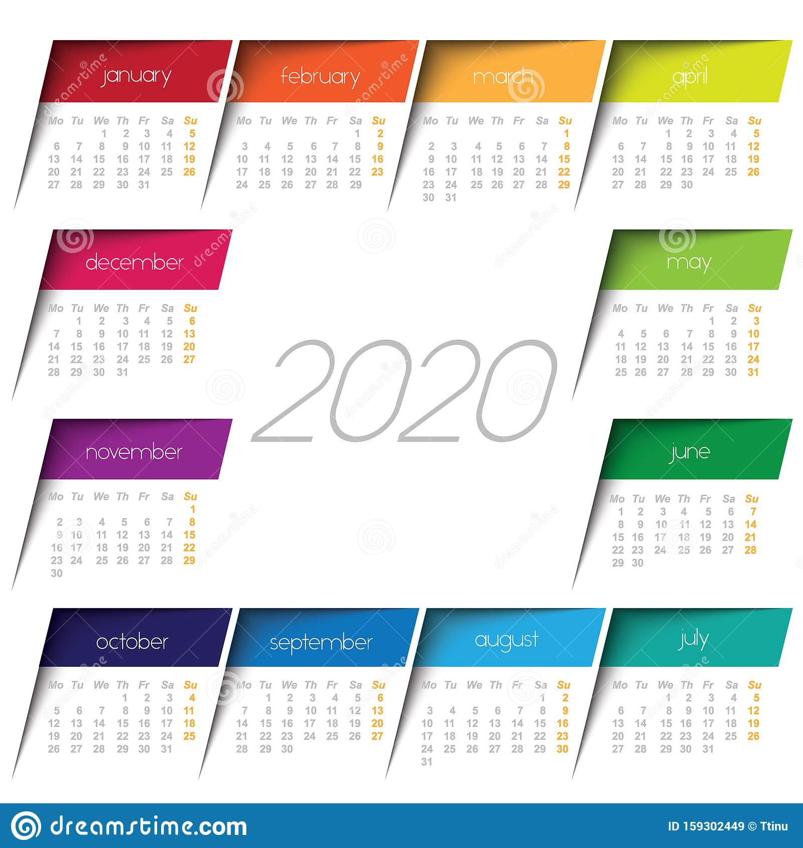 2020 Calendar. Color Post It Stock Vector - Illustration Of