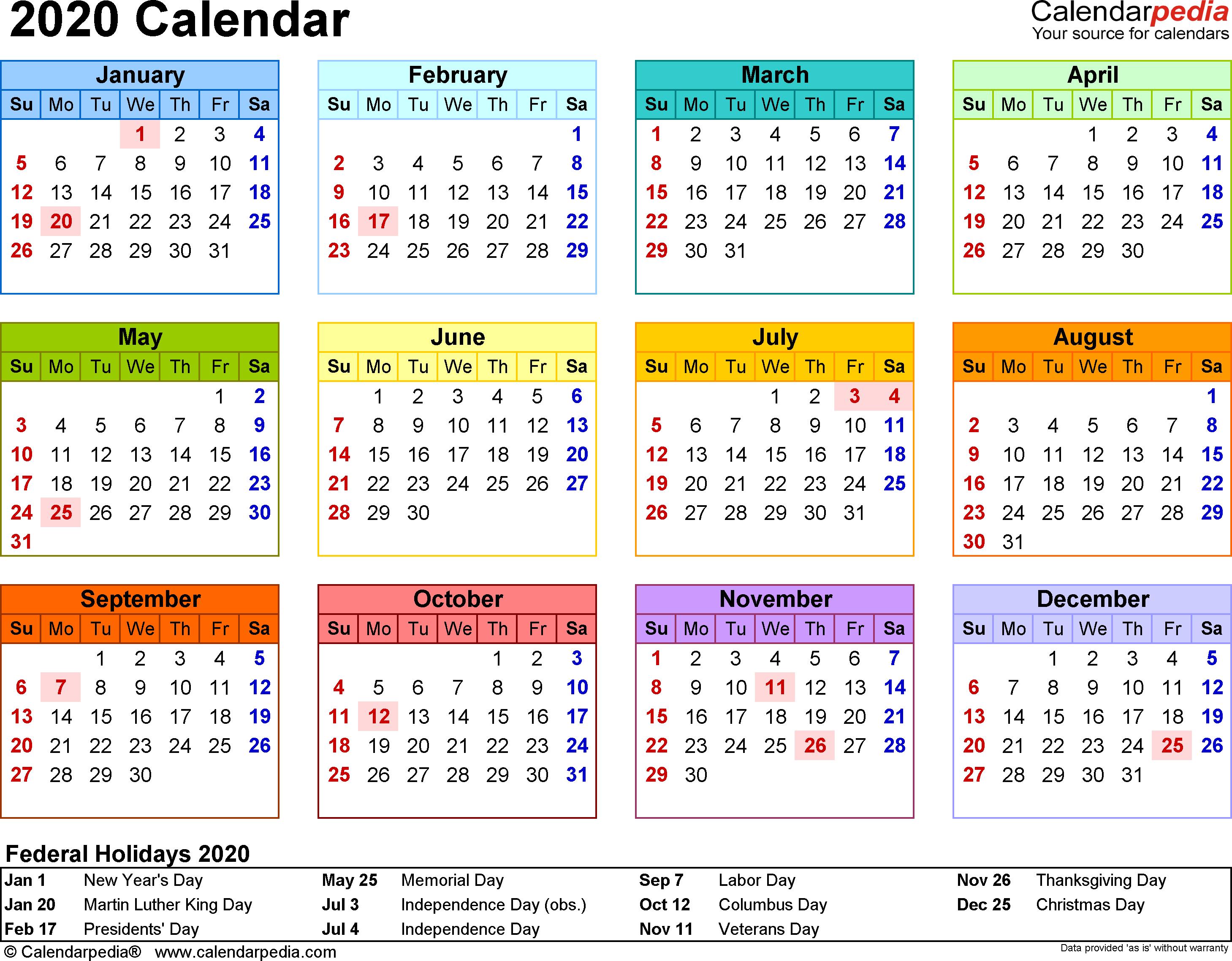 2020 Calendar - Download 18 Free Printable Excel Templates