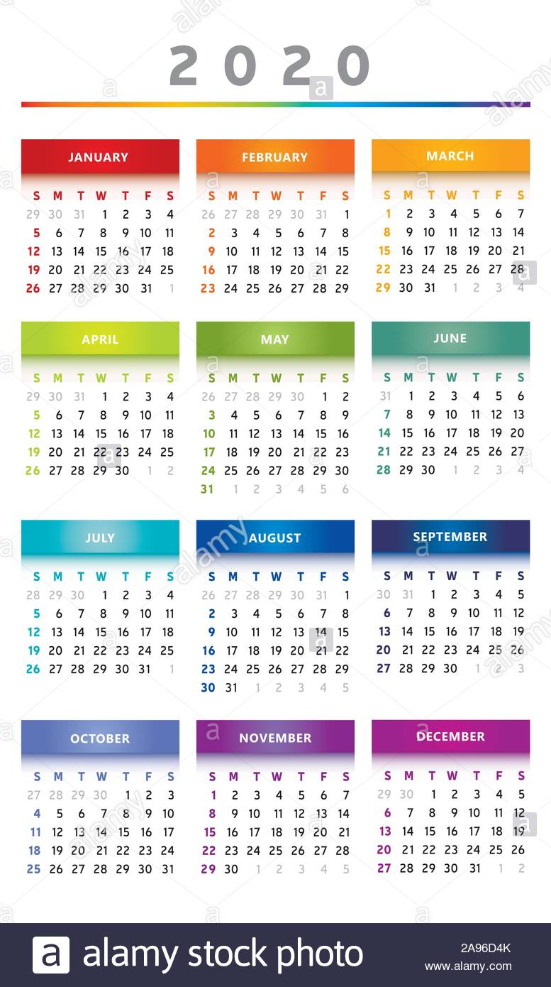 2020 Calendar - English Language - Multicolored - 3 Columns