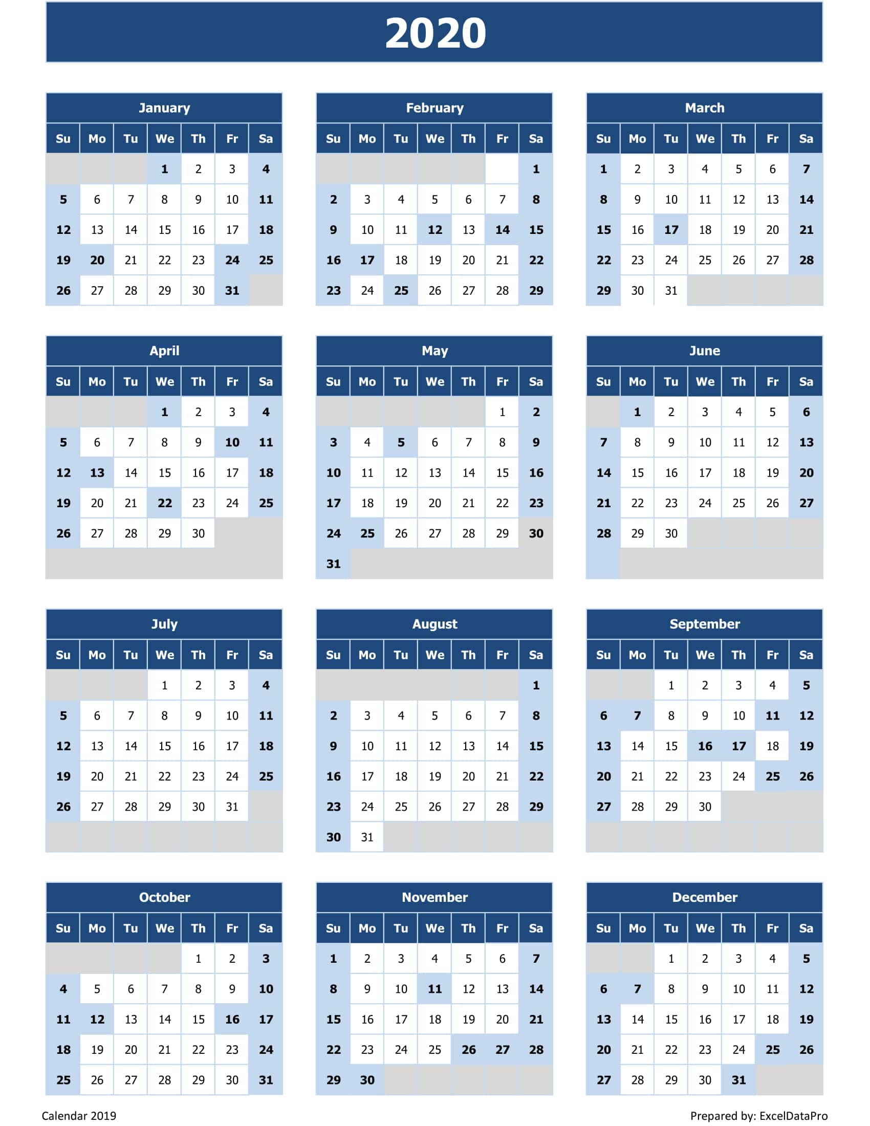 2020 Calendar Excel Templates, Printable Pdfs & Images