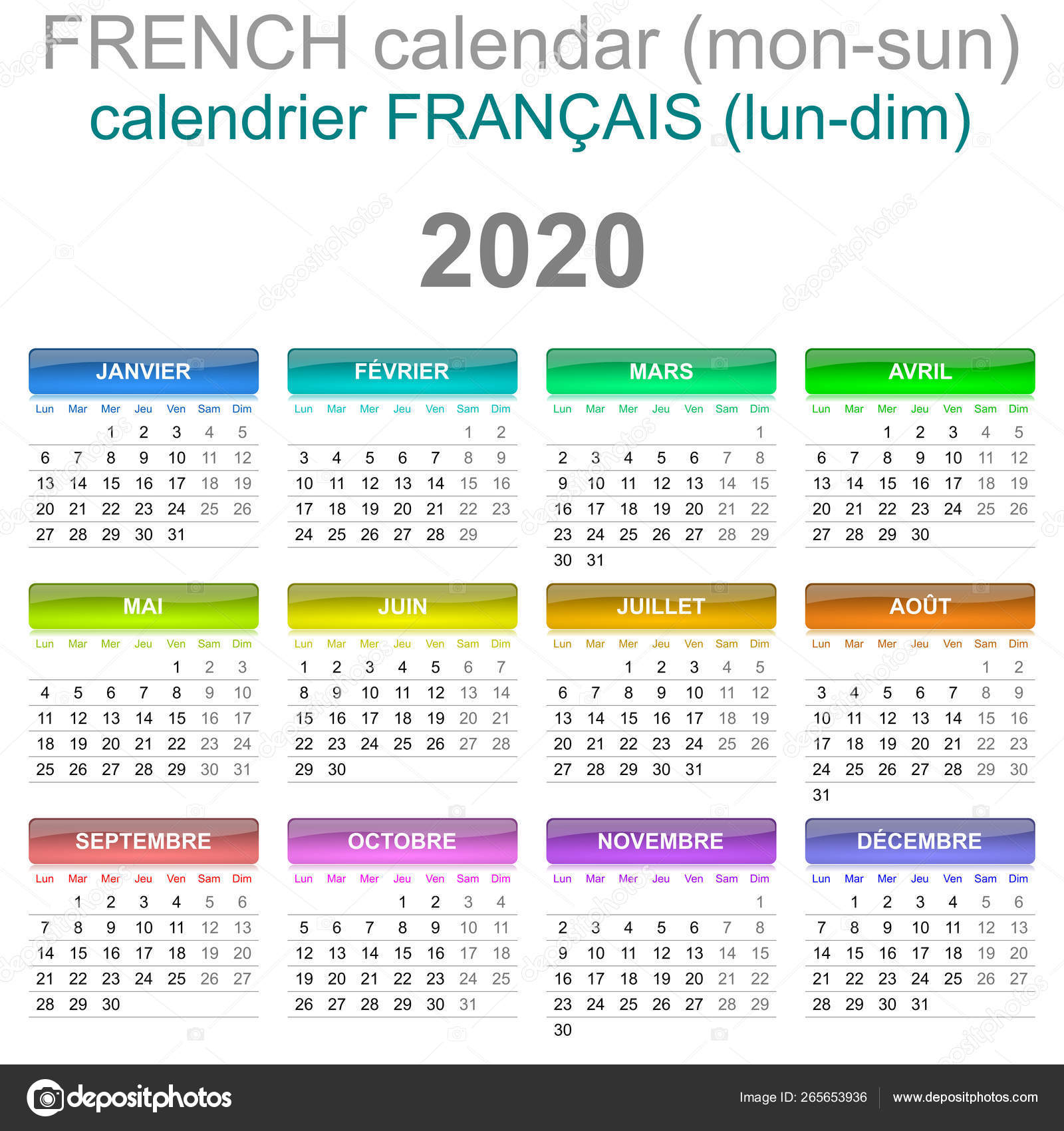2020 Calendar French Language Monday To Sunday — Stock Photo