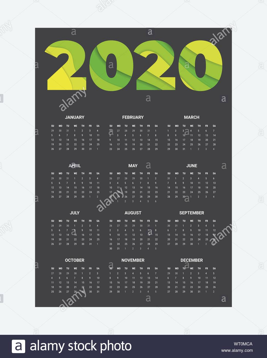 2020 Calendar - Illustration. Template. Mock Up Week Starts