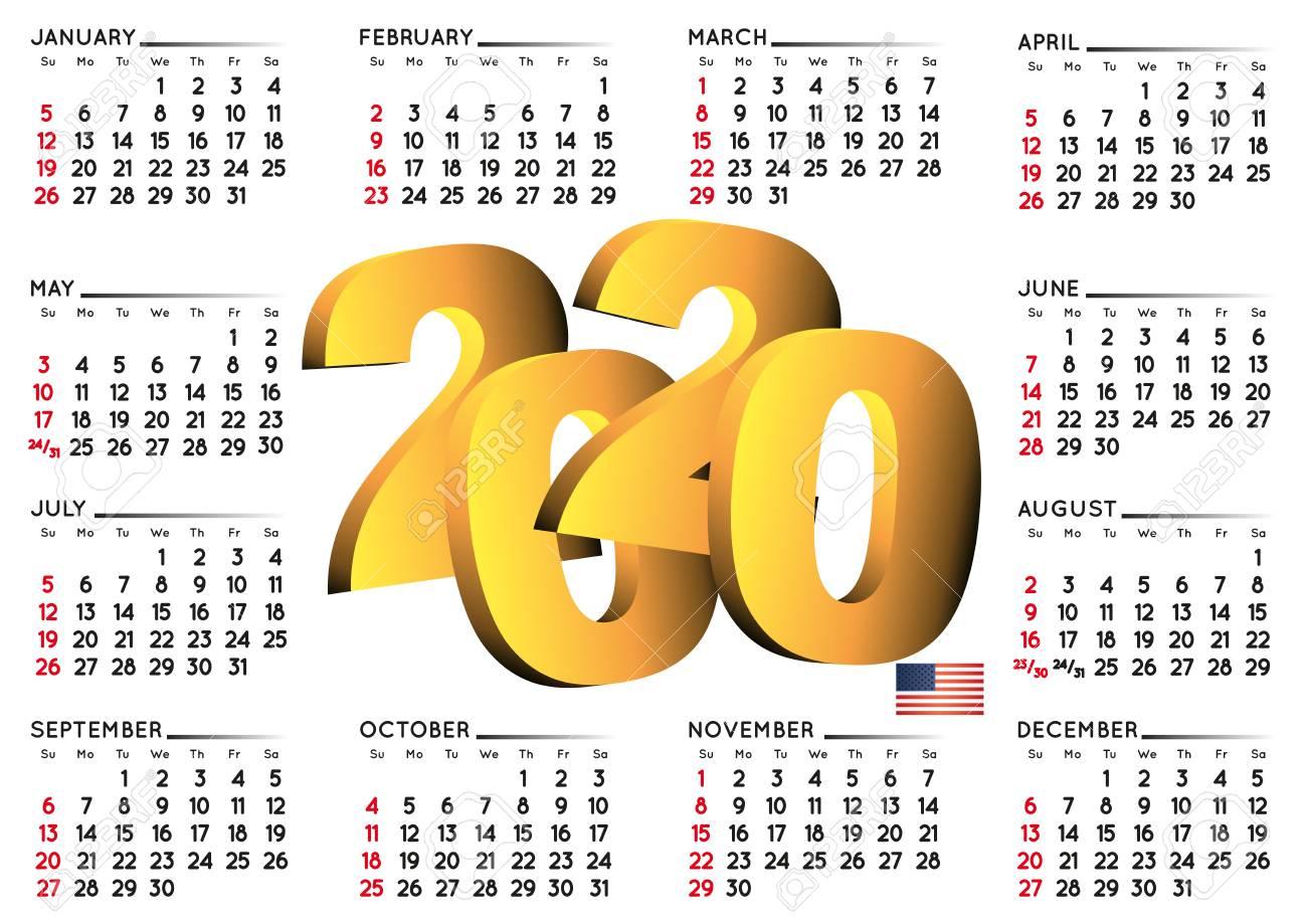 2020 Calendar In English Usa. Year 2020 Calendar. Calendar 2020