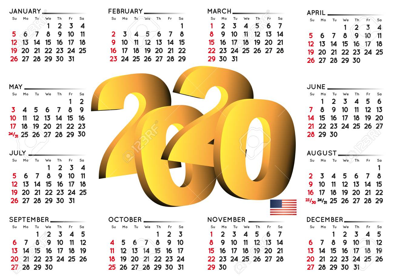 2020 Calendar In English Usa. Year 2020 Calendar. Calendar 2020