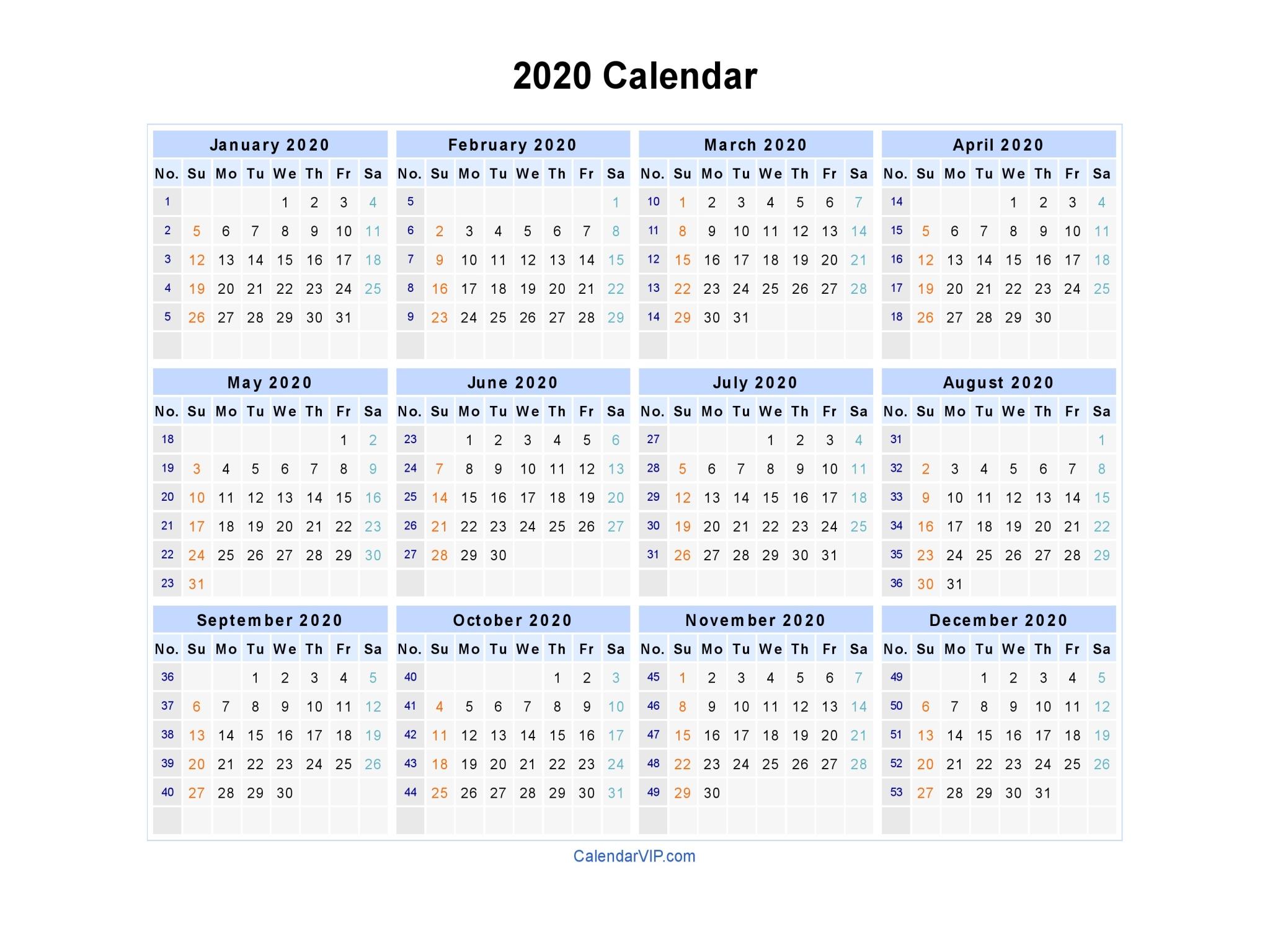 2020 Calendar In Excel Format - Wpa.wpart.co