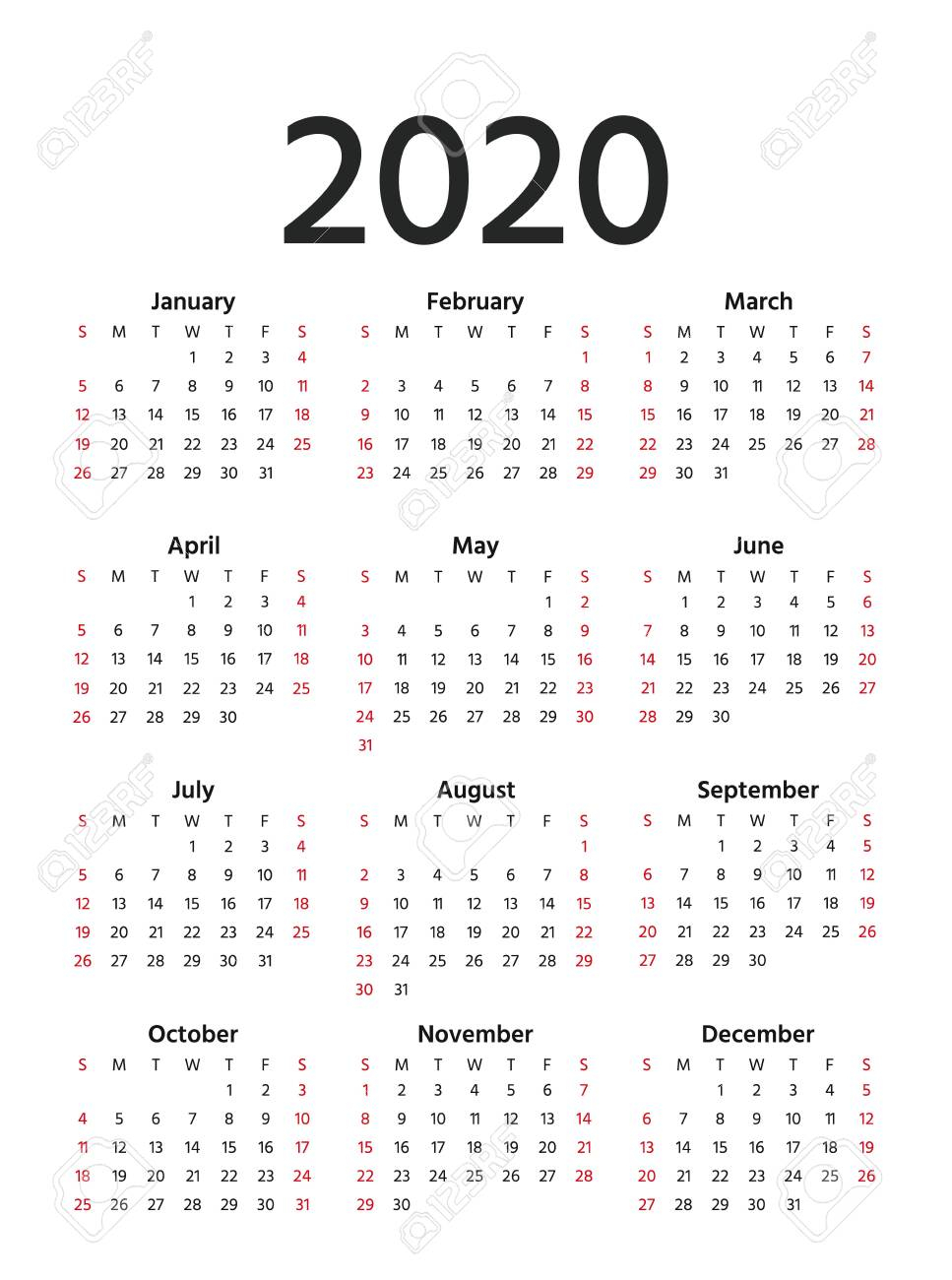 2020 Calendar In Simple Style. Vector. Stationery 2020 Year Template..