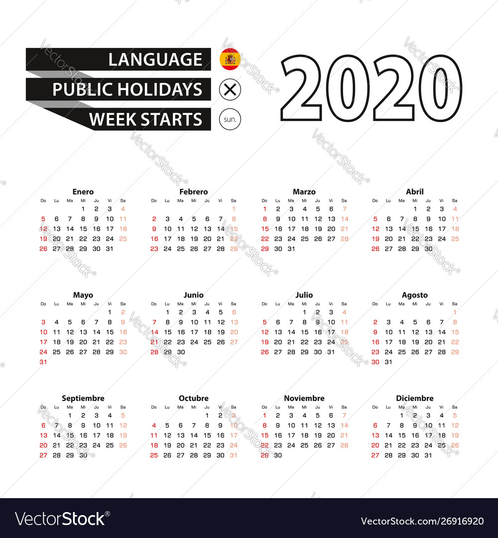 2020 Calendar In Spanish Language Week Starts