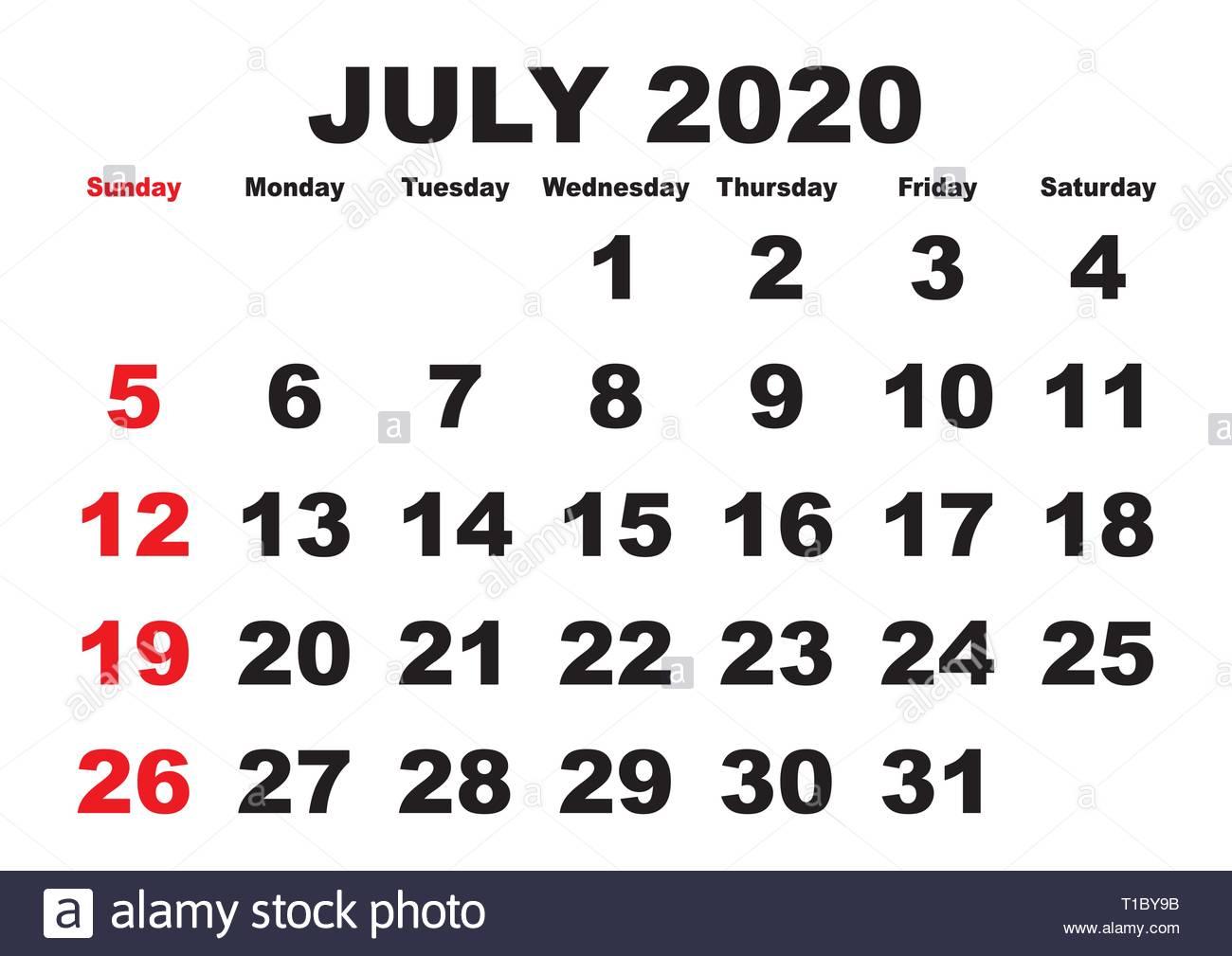 2020 Calendar July Month. Vector Printable Calendar. Monthly