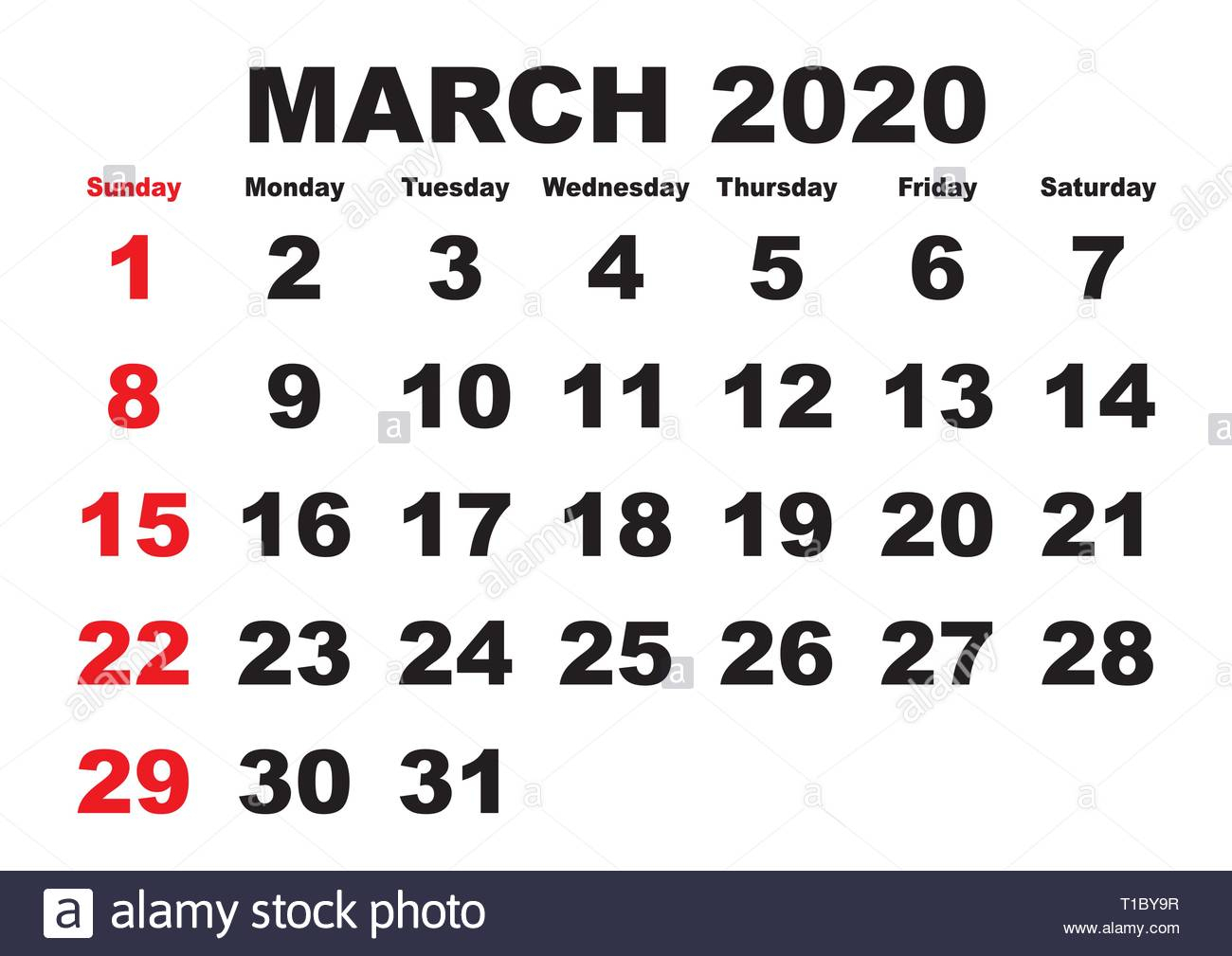 2020 Calendar March Month. Vector Printable Calendar