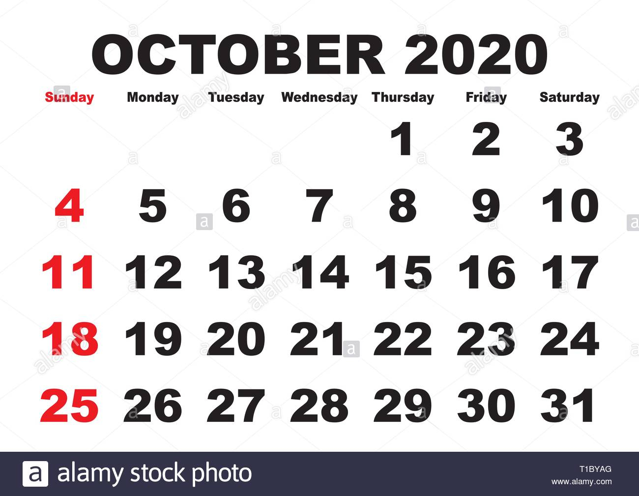2020 Calendar October Month. Vector Printable Calendar