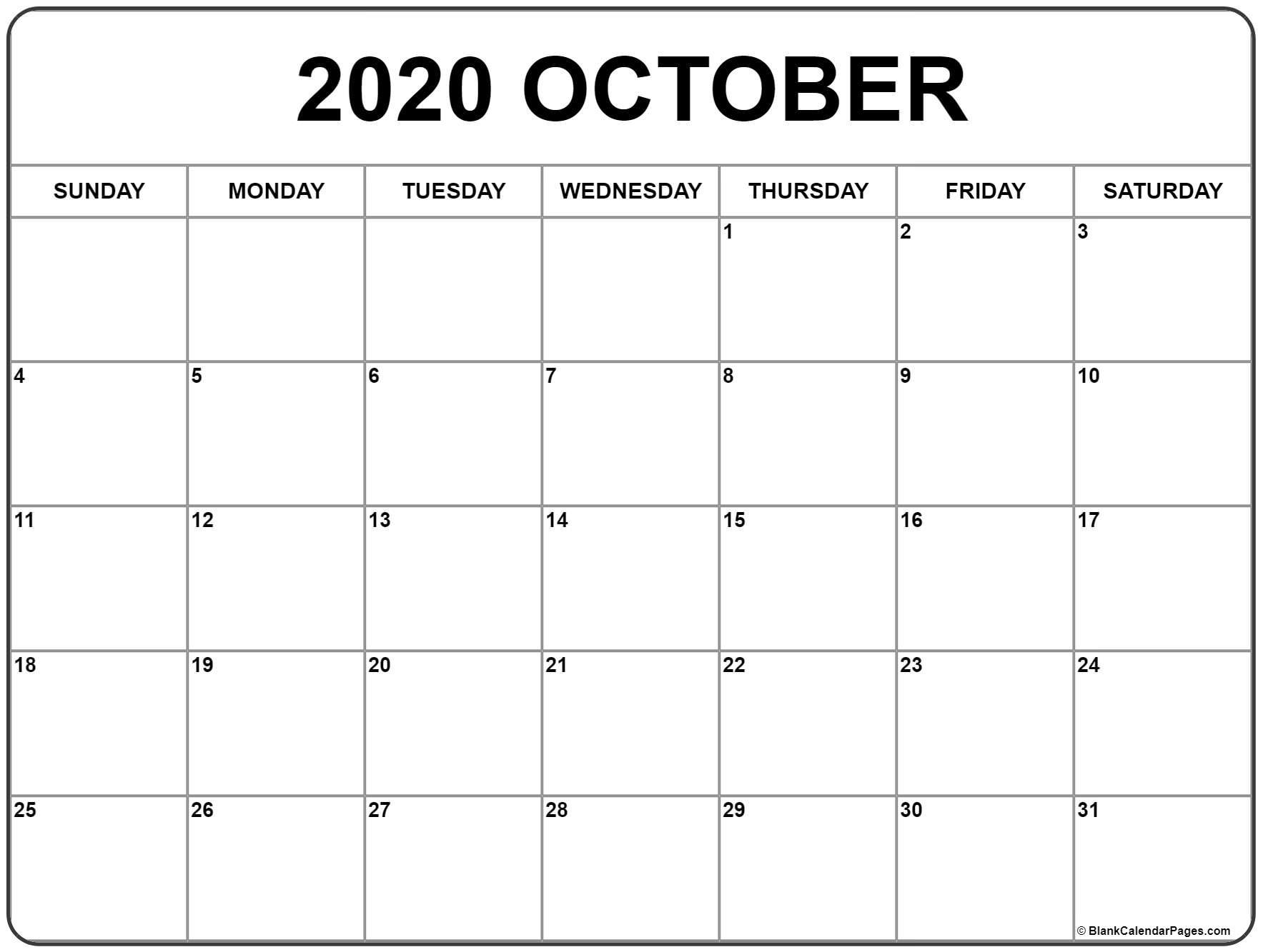 2020 Calendar October - Wpa.wpart.co