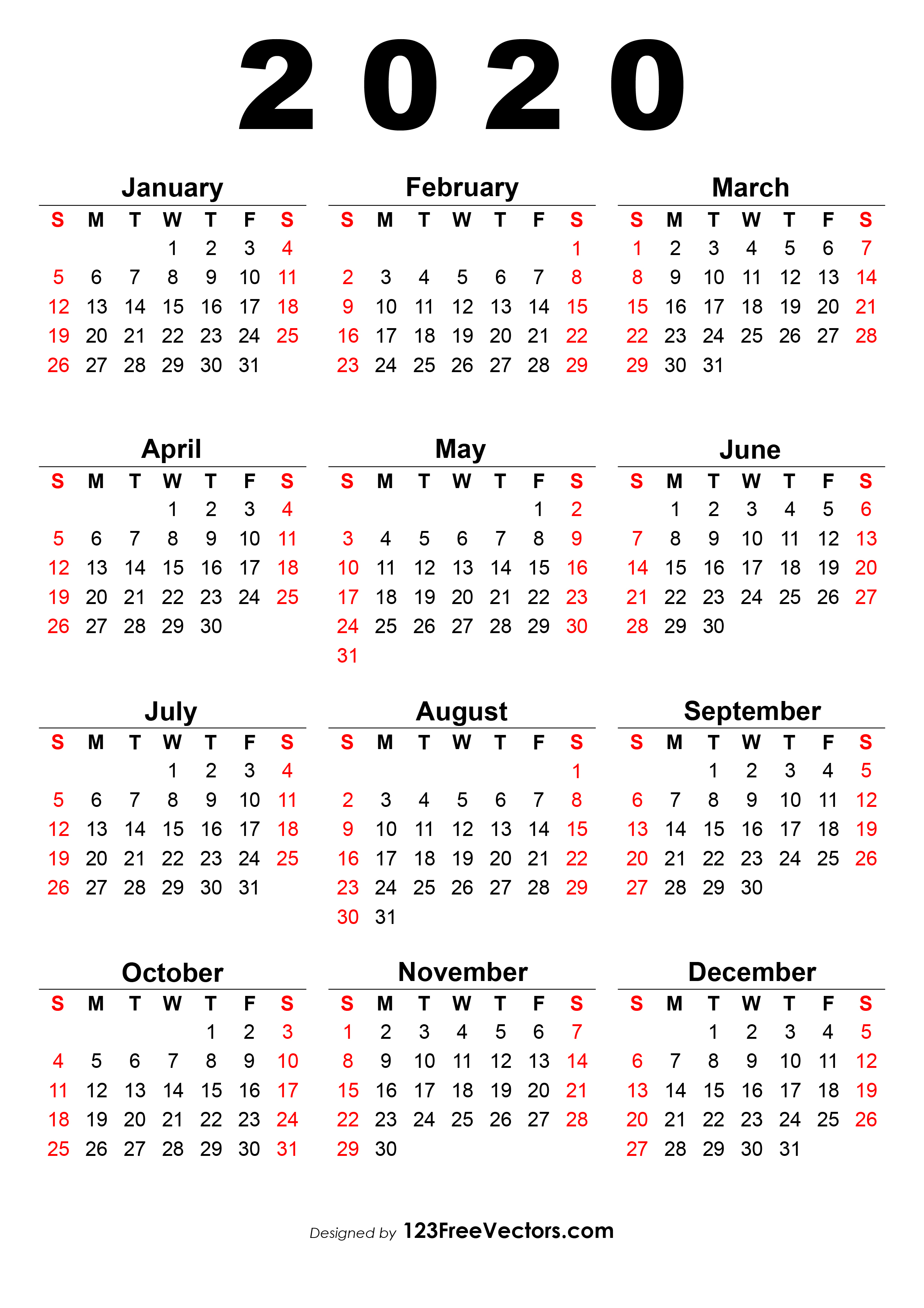 2020 Calendar One Page