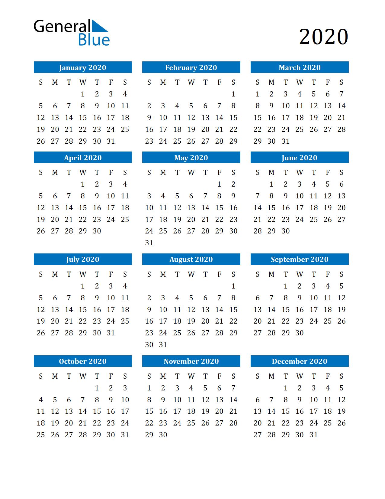 2020 Calendar (Pdf, Word, Excel)