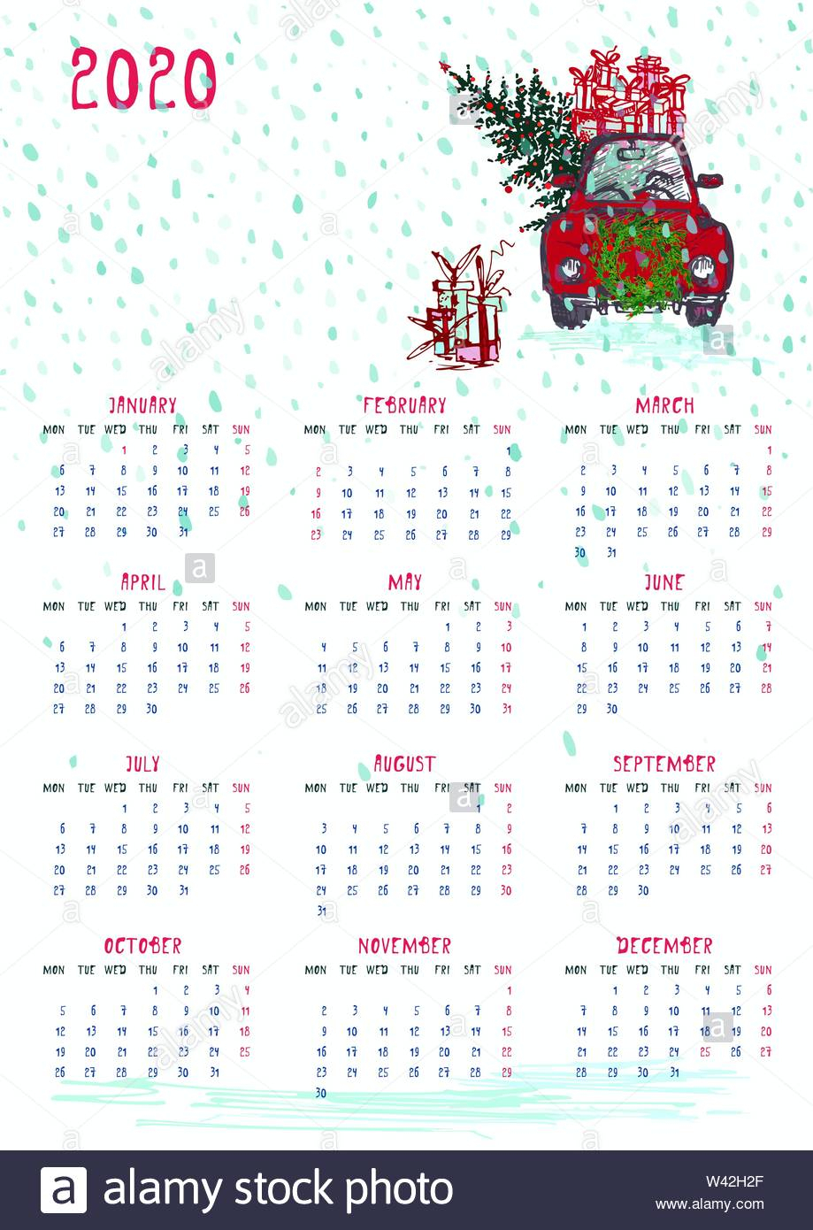 2020 Calendar Planner Whith Red Christmas Car, New Year Tree