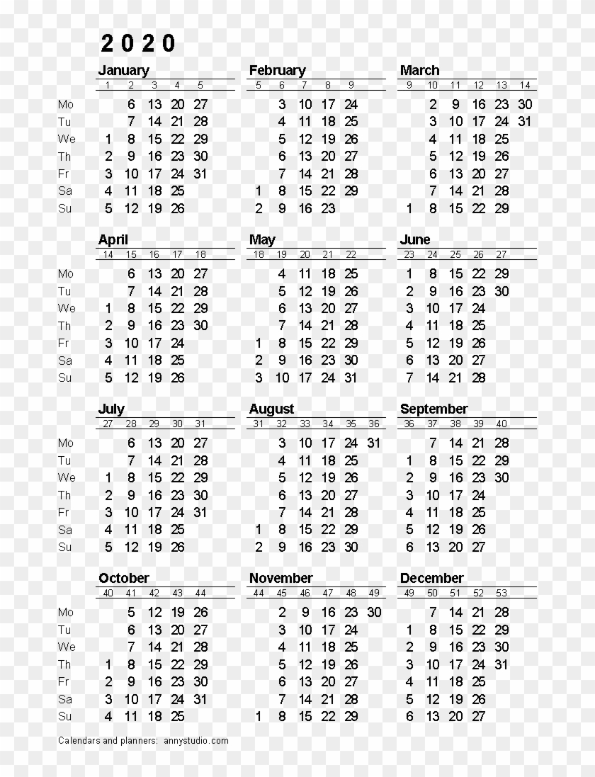 2020 Calendar Png Download Image - 2020 Calendar With Week