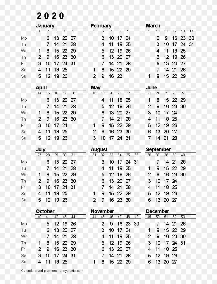 2020 Calendar Png Download Image - 2020 Calendar With Week