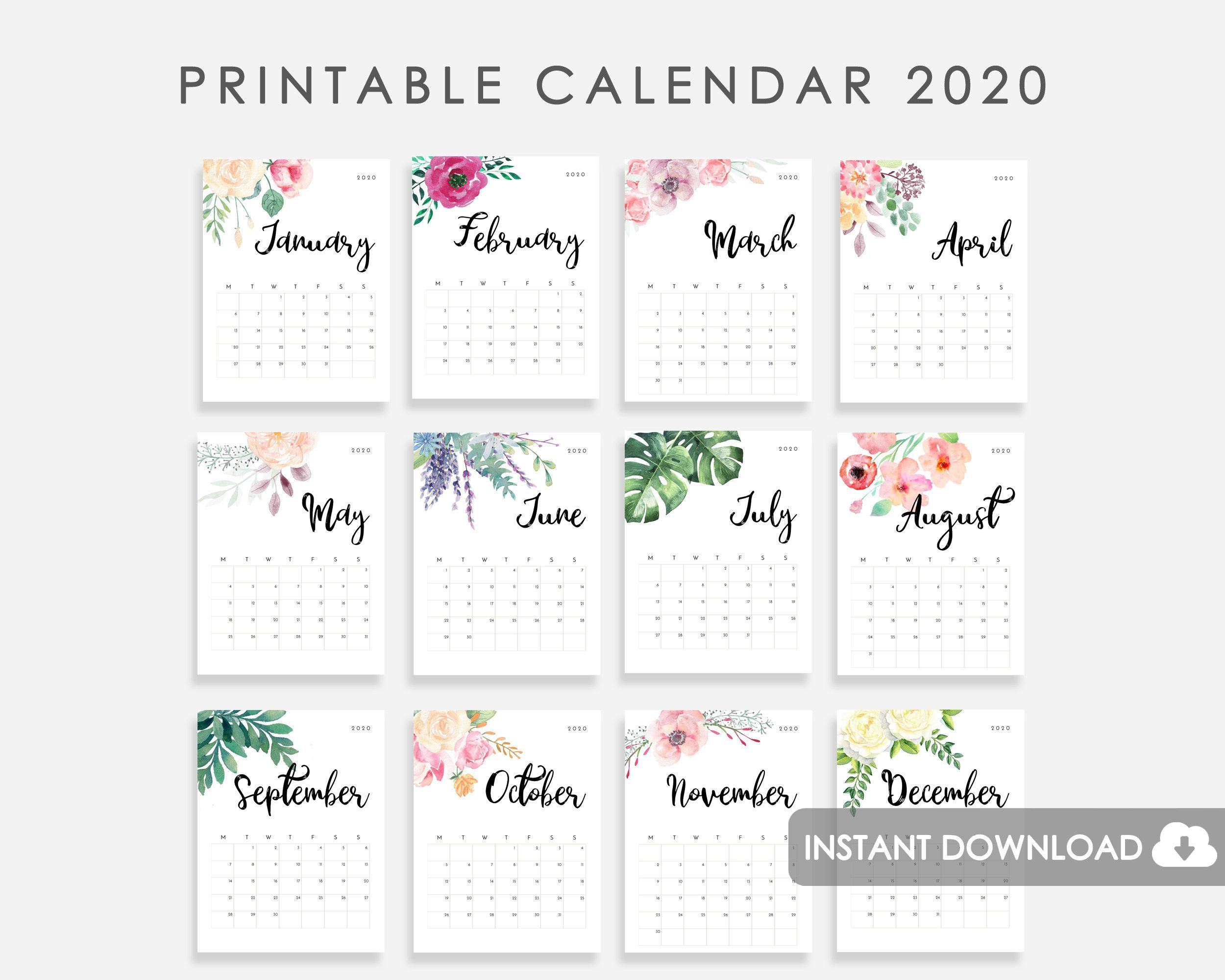 2020 Calendar Printable, Desk Calendar 2020, 2020 Wall