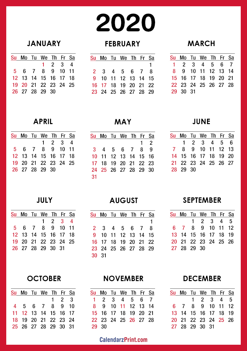 2020 Calendar Printable Free With Usa Holidays – Red