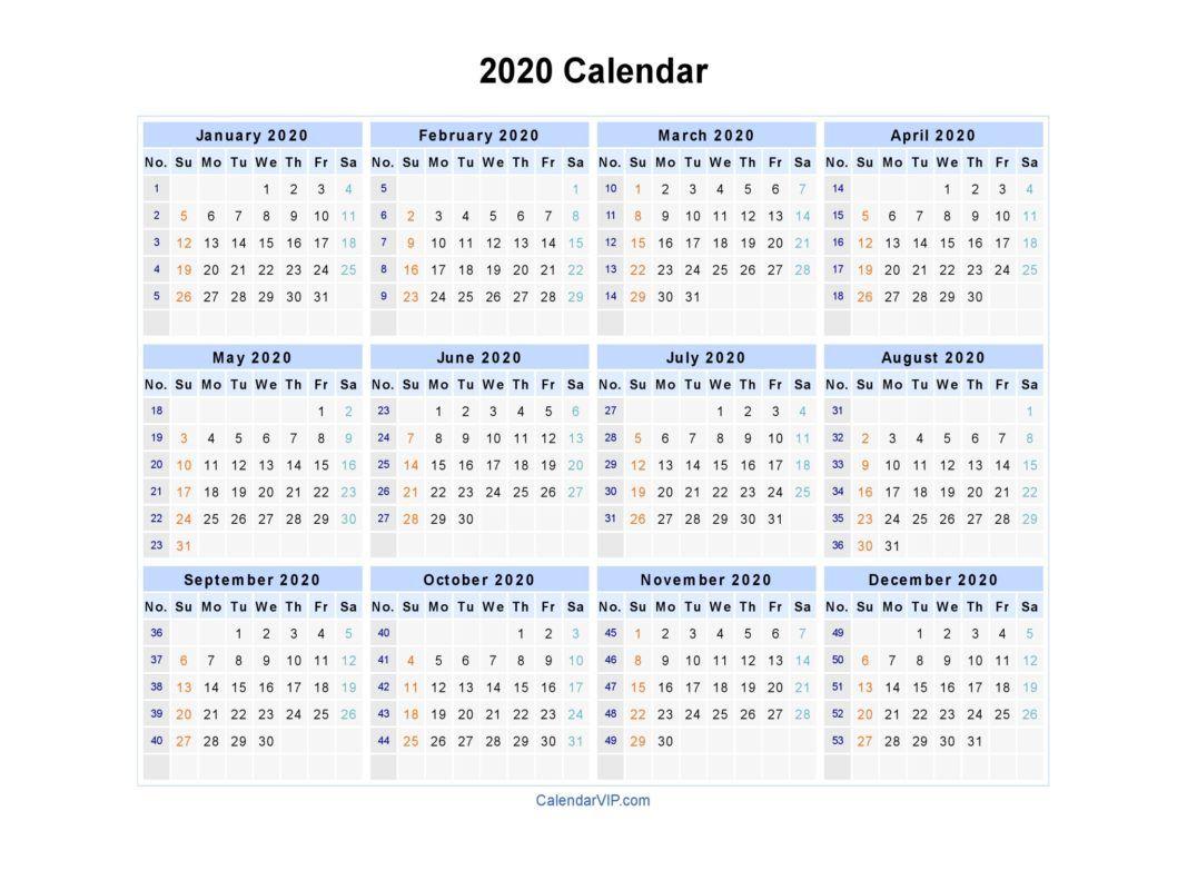 2020 Calendar Printable | Januari
