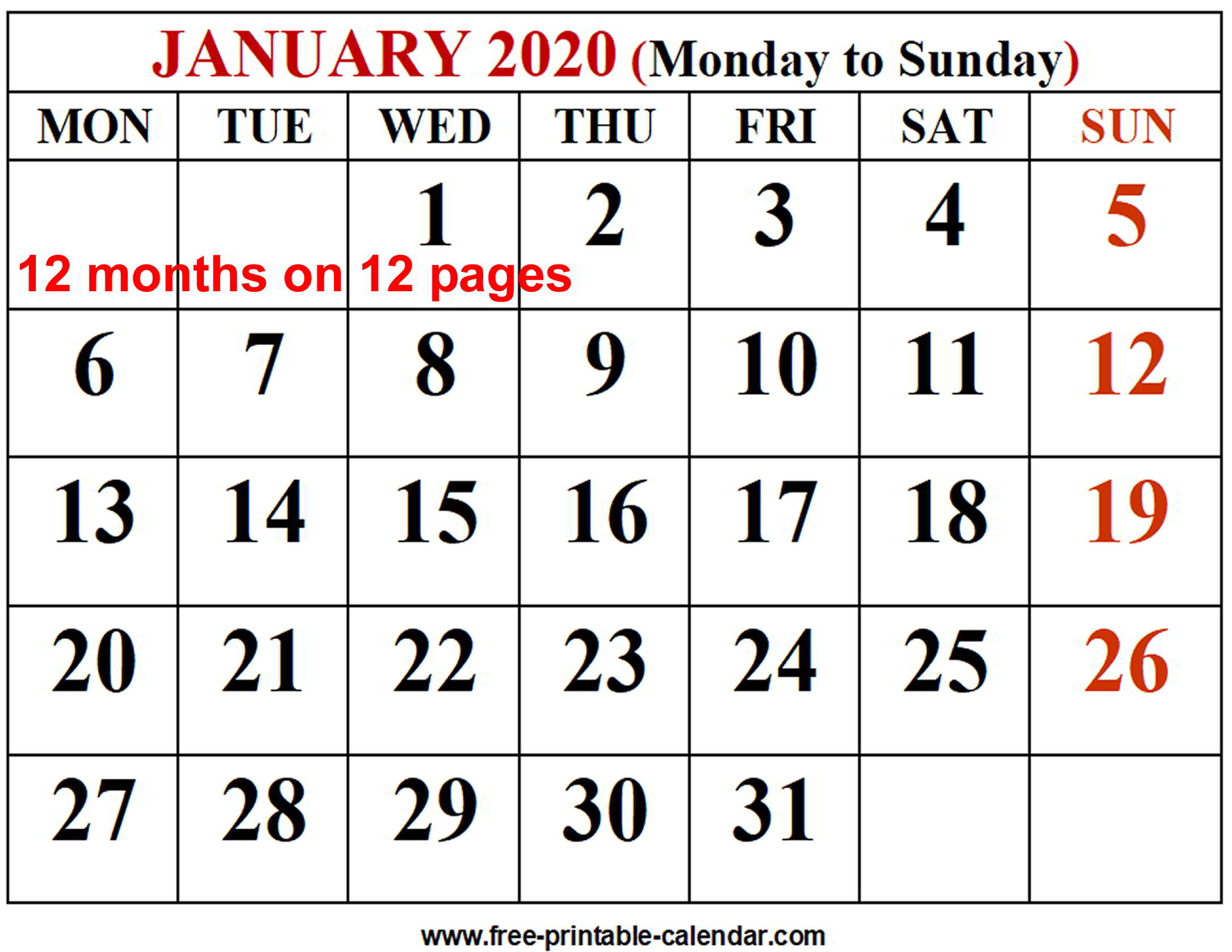 2020 Calendar Printable One Page - Wpart.co