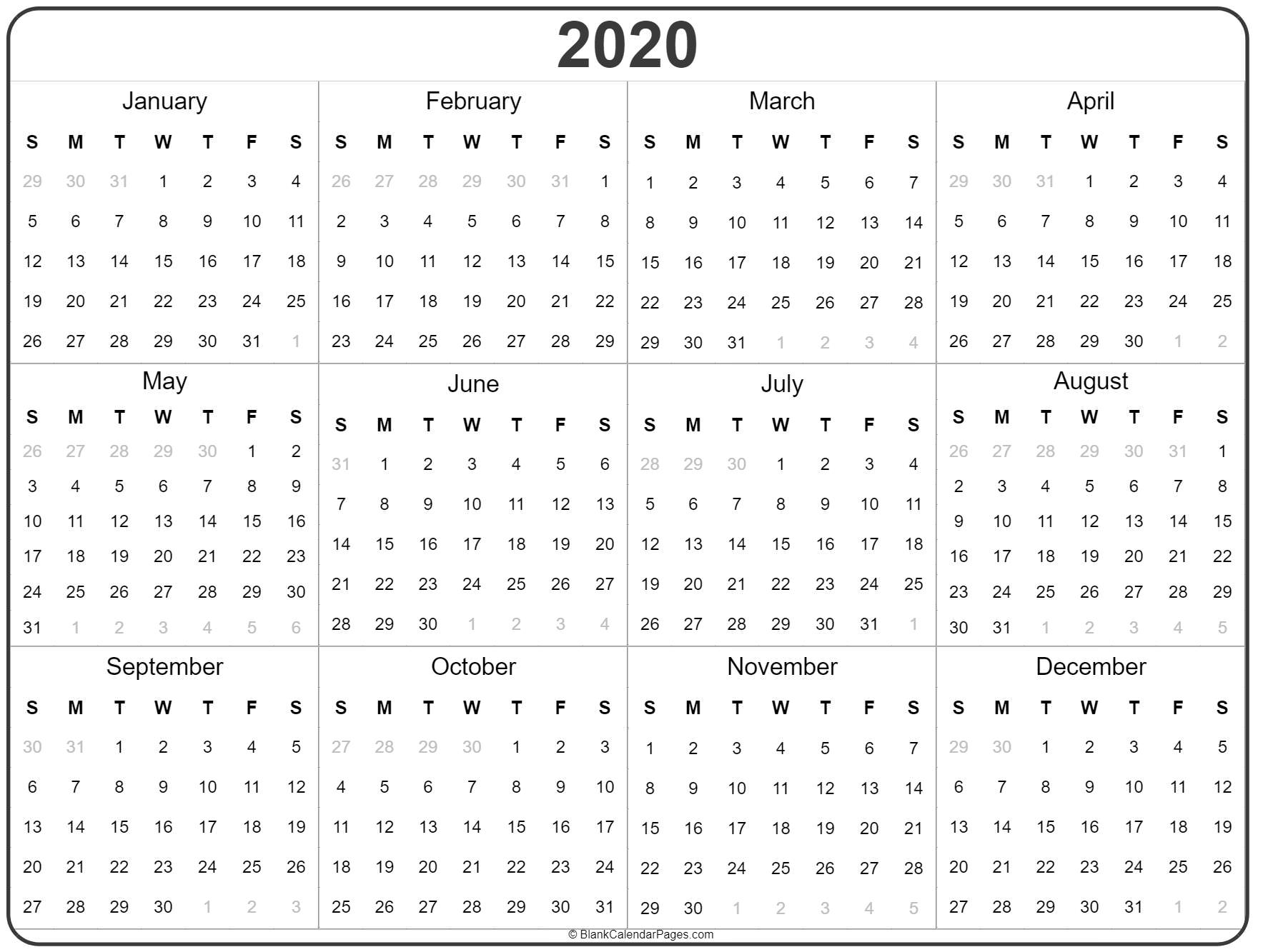 2020 Calendar Printable Yearly - Wpa.wpart.co