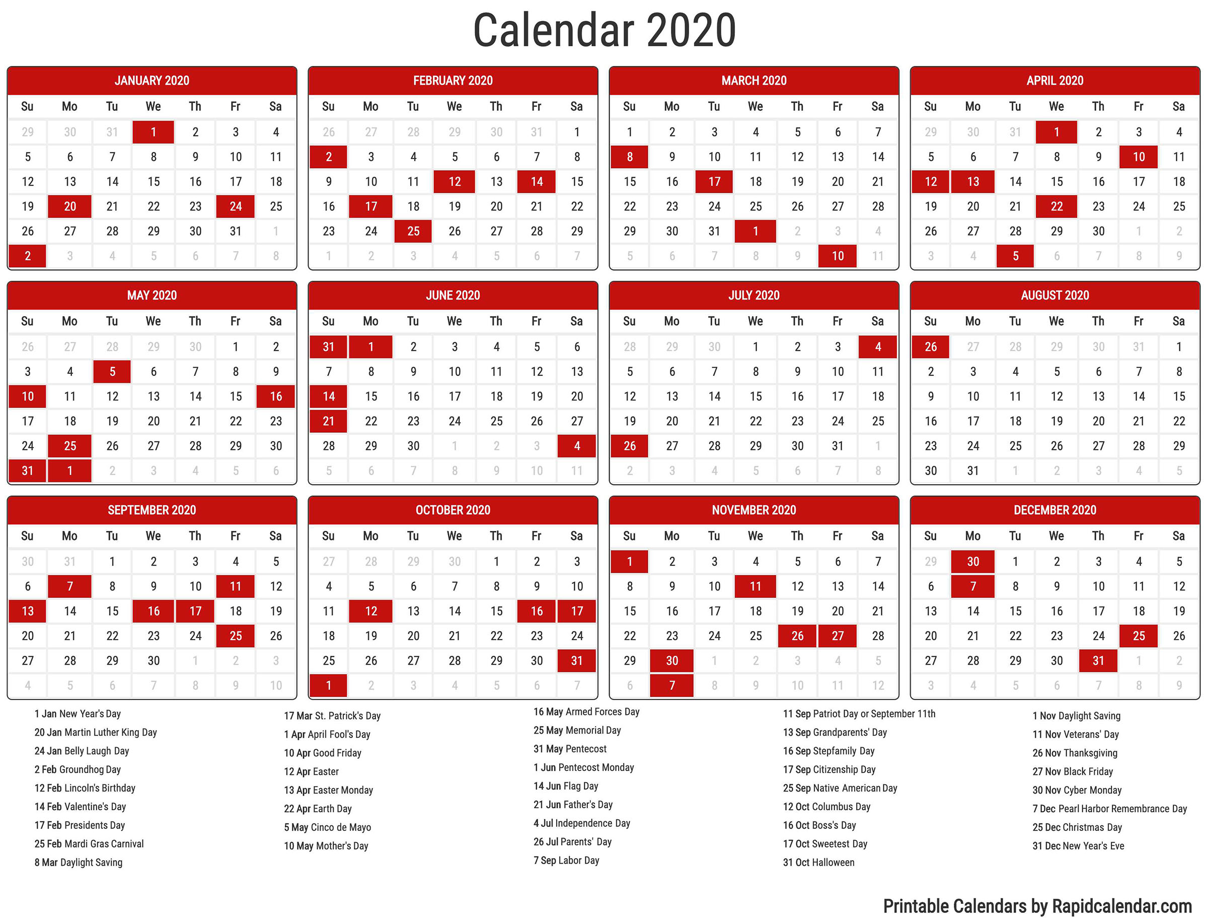 2020 Calendar - Rapid Calendar