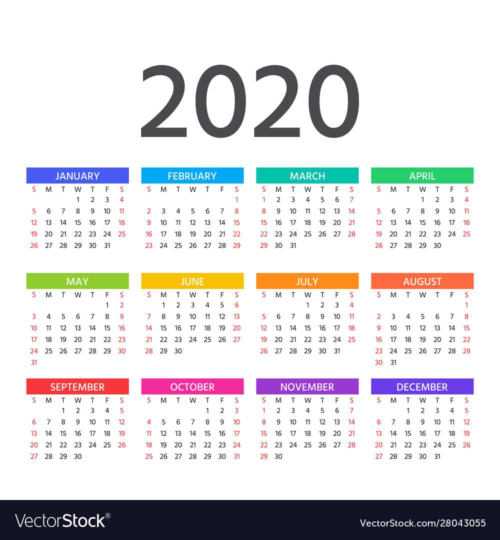 2020 Calendar Template Year Planner