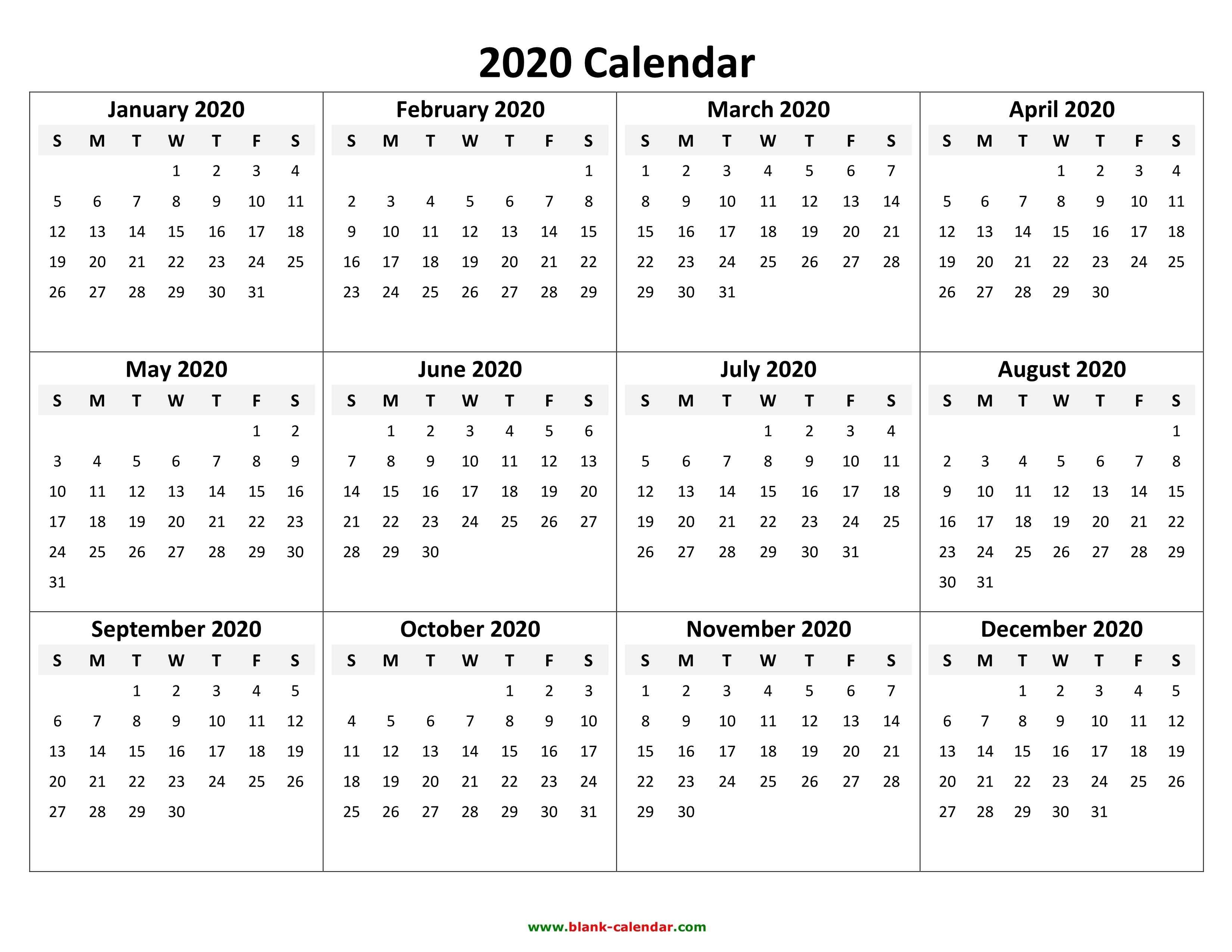 2020 Calendar Templates - Wpa.wpart.co