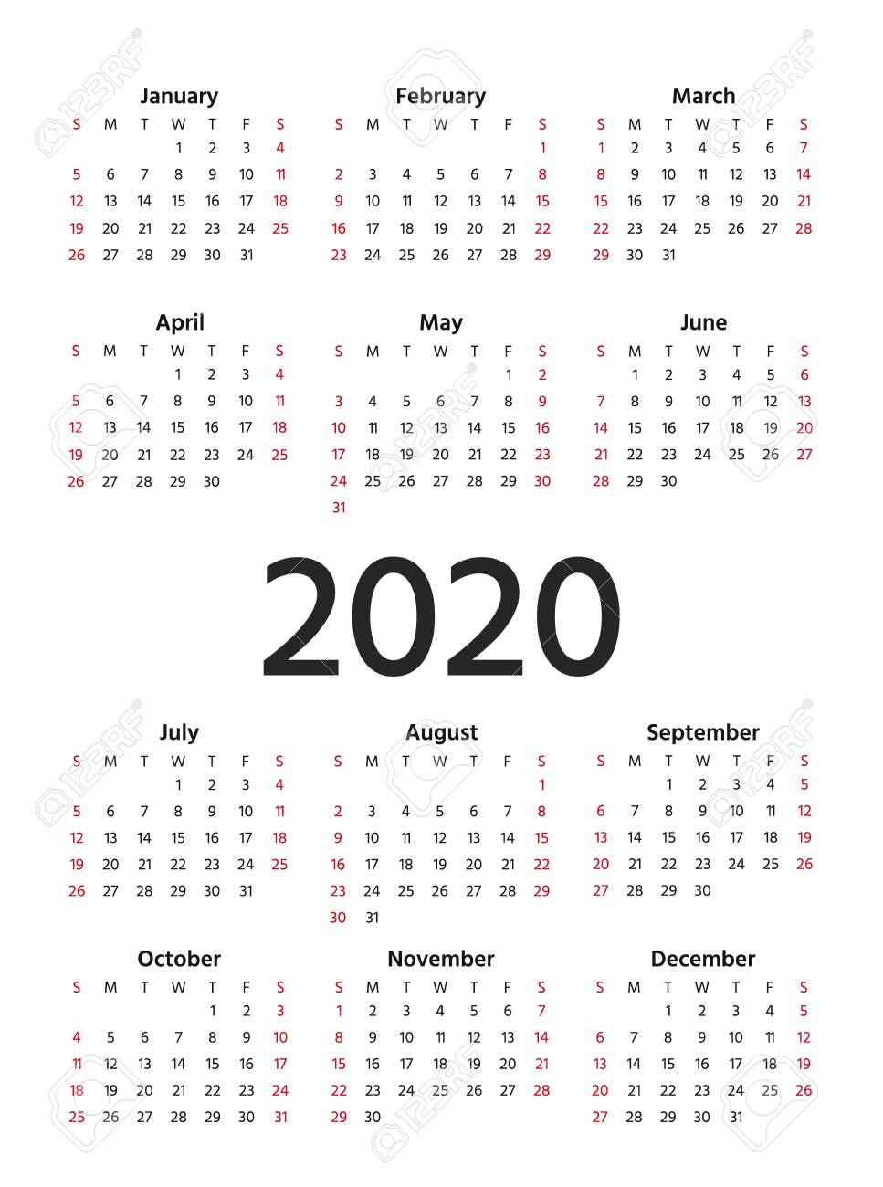 2020 Calendar. Vector. Stationery 2020 Year Vertical Template..