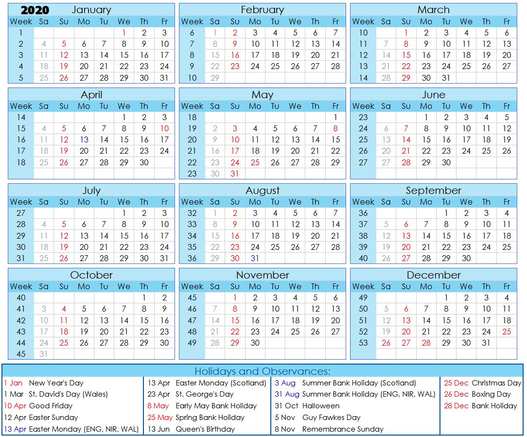 2020 Calendar & Week Nos + Hols 270819 N | No.62 On The Gower
