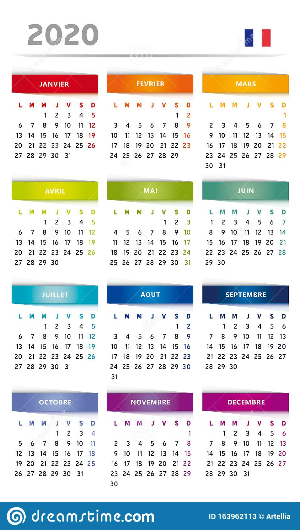 2020 Calendar With Boxes In Rainbow Colors 4 Trimesters - 3