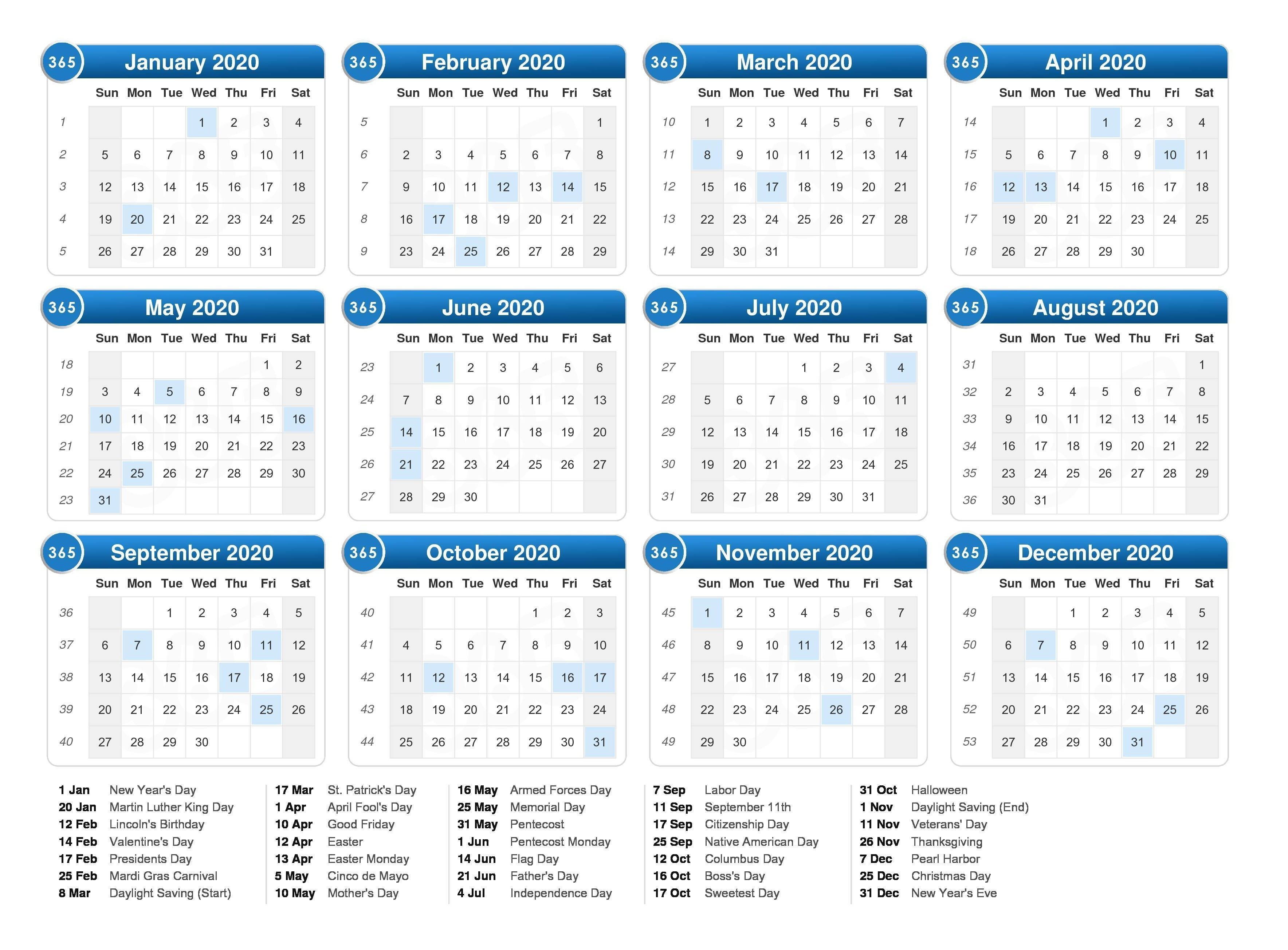 2020 Calendar With Holidays | Printable Calendar Pages