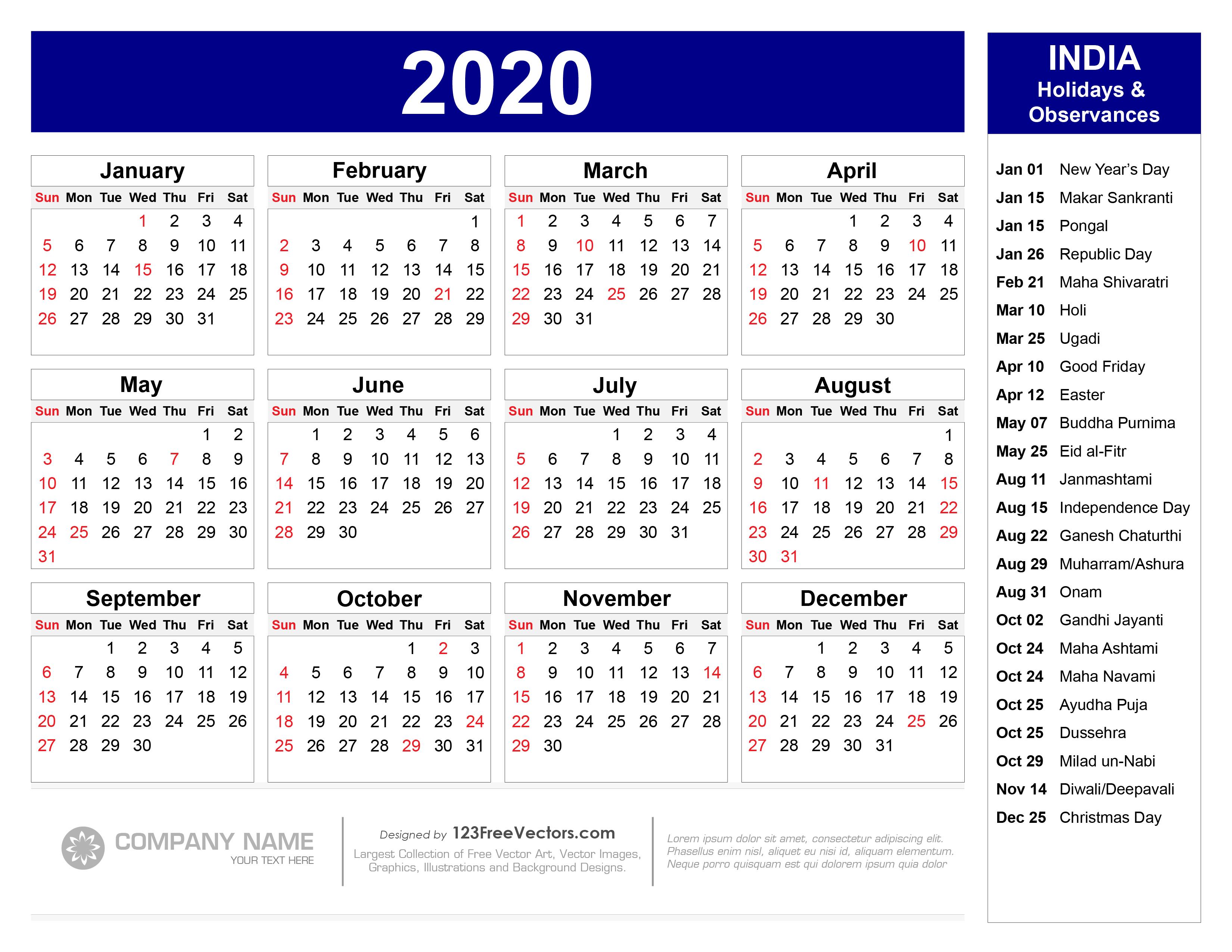 2020 Calendar With Indian Holidays Pdf