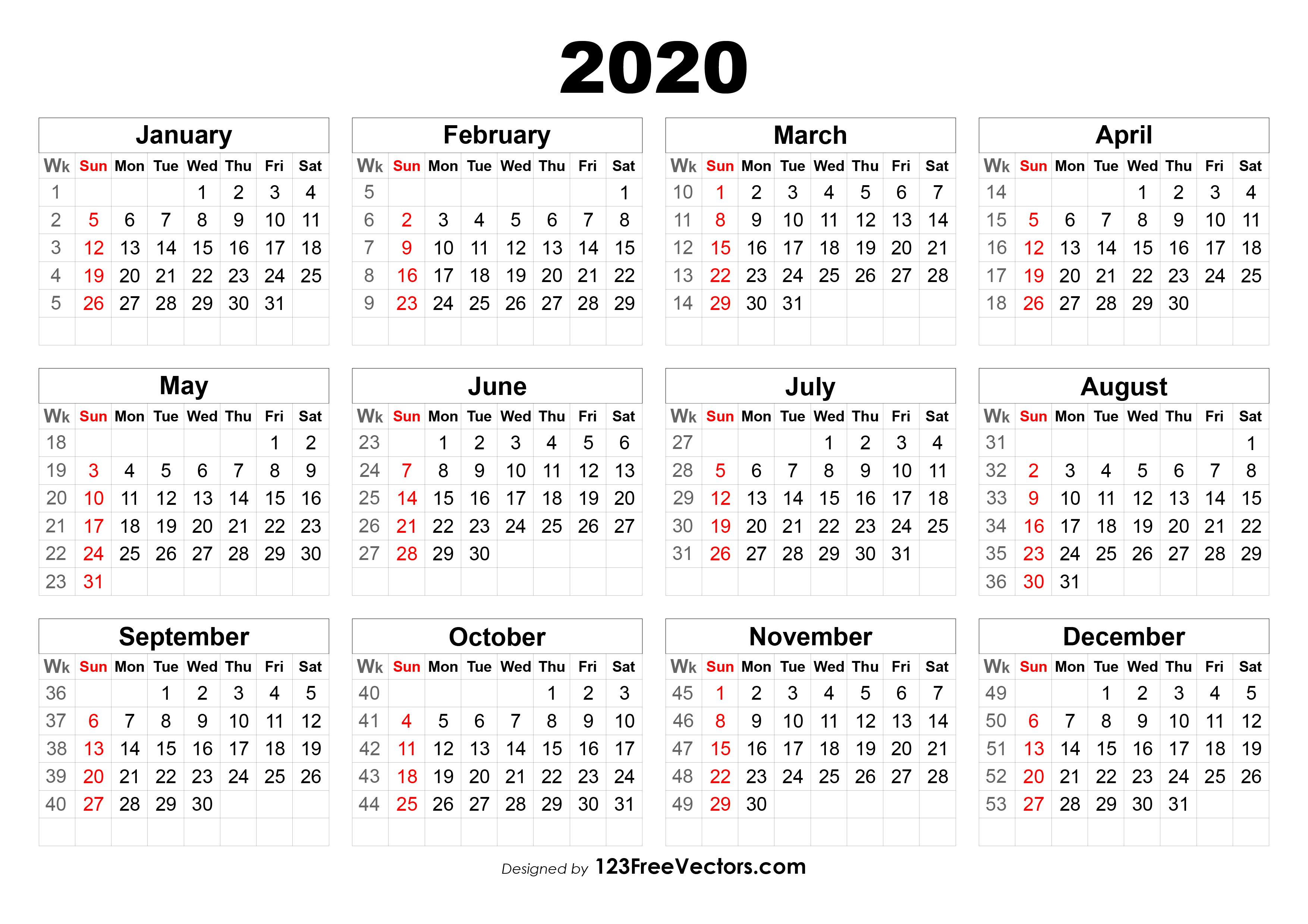 2020 Calendar With Week Numbers