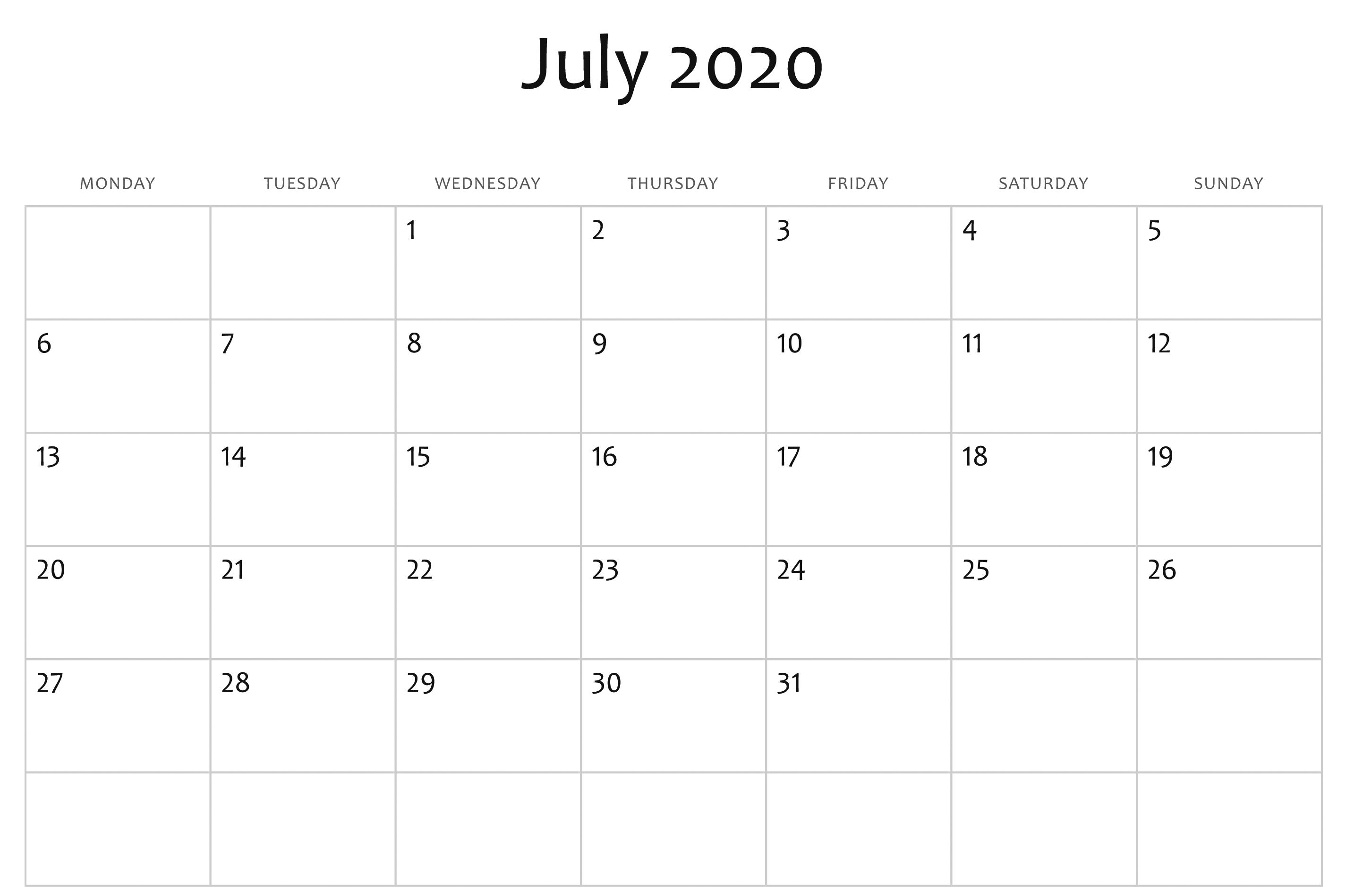 2020 Calendar Word Template - Wpa.wpart.co
