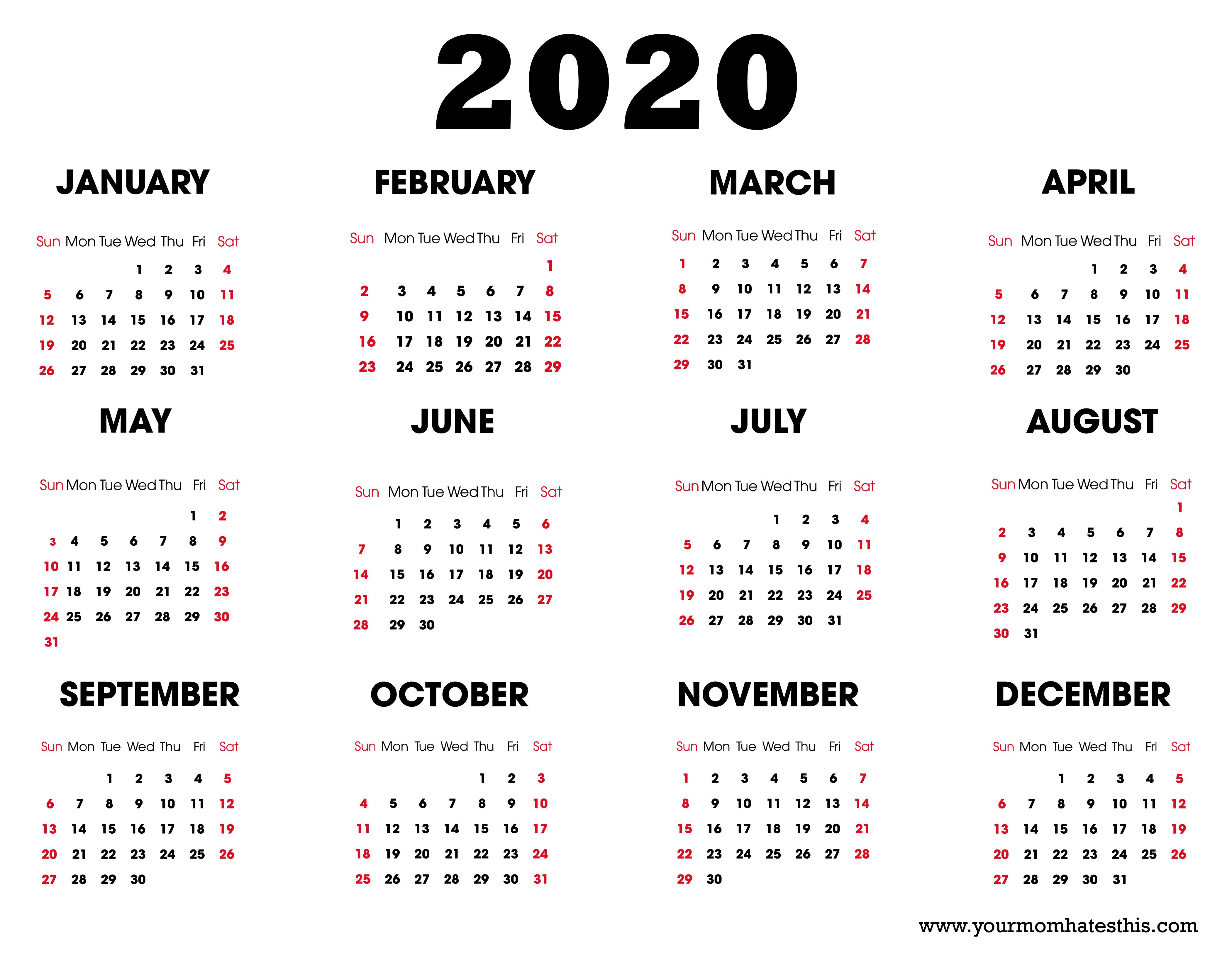 2020 Calendars In Pdf - Download Templates Of Calendar 2020