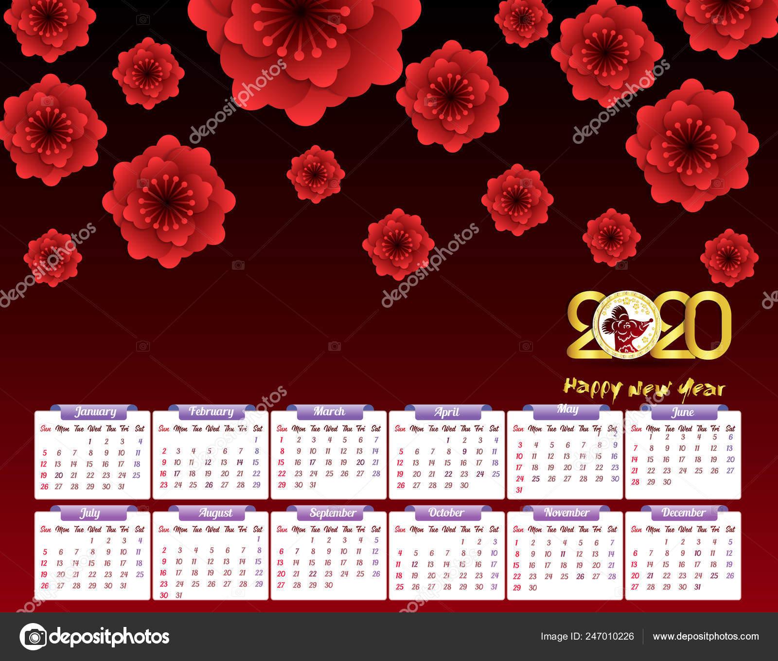 2020 Году Календарь Год Новый Год Мыши — Векторное