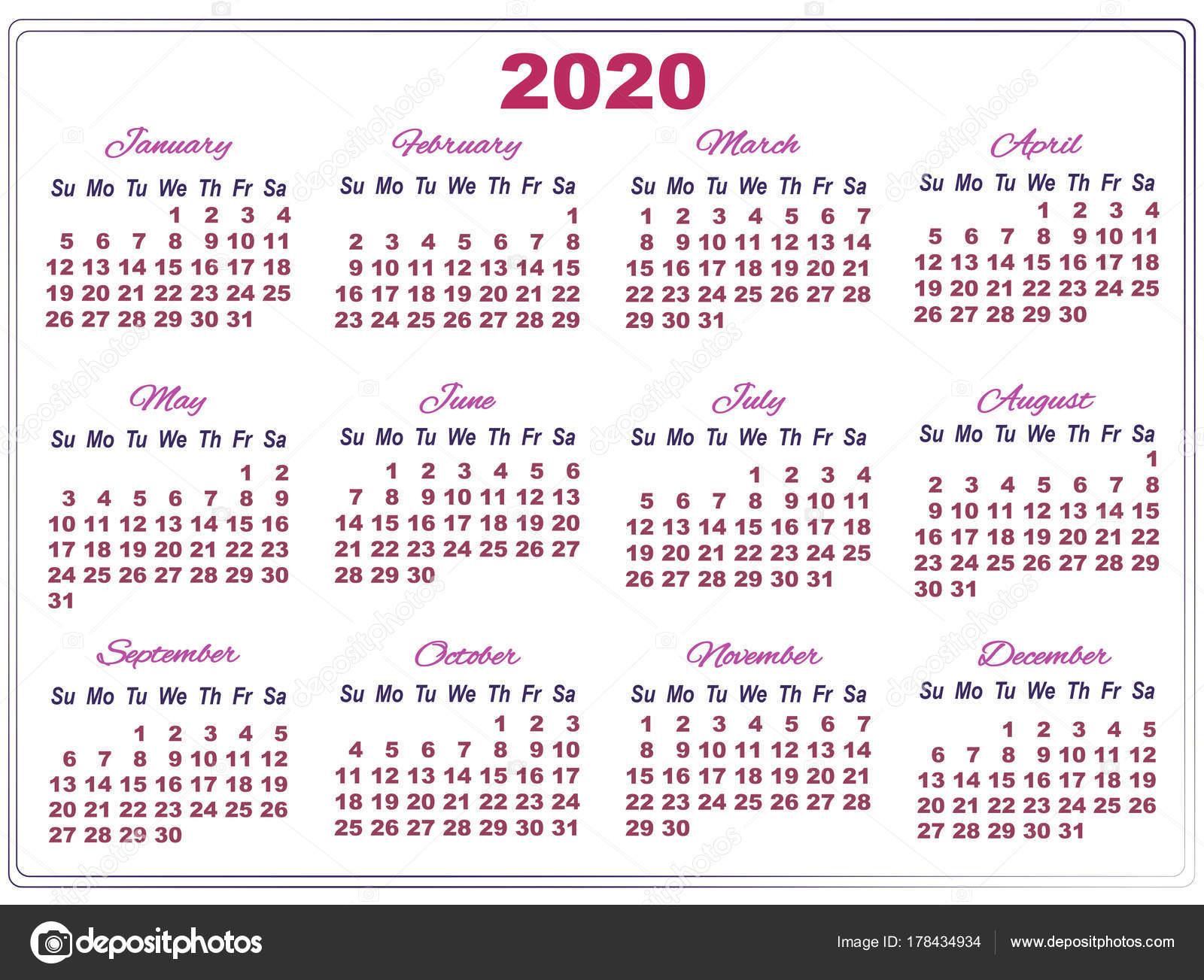 2020 Году Календарь С Больших Чисел — Векторное Изображение