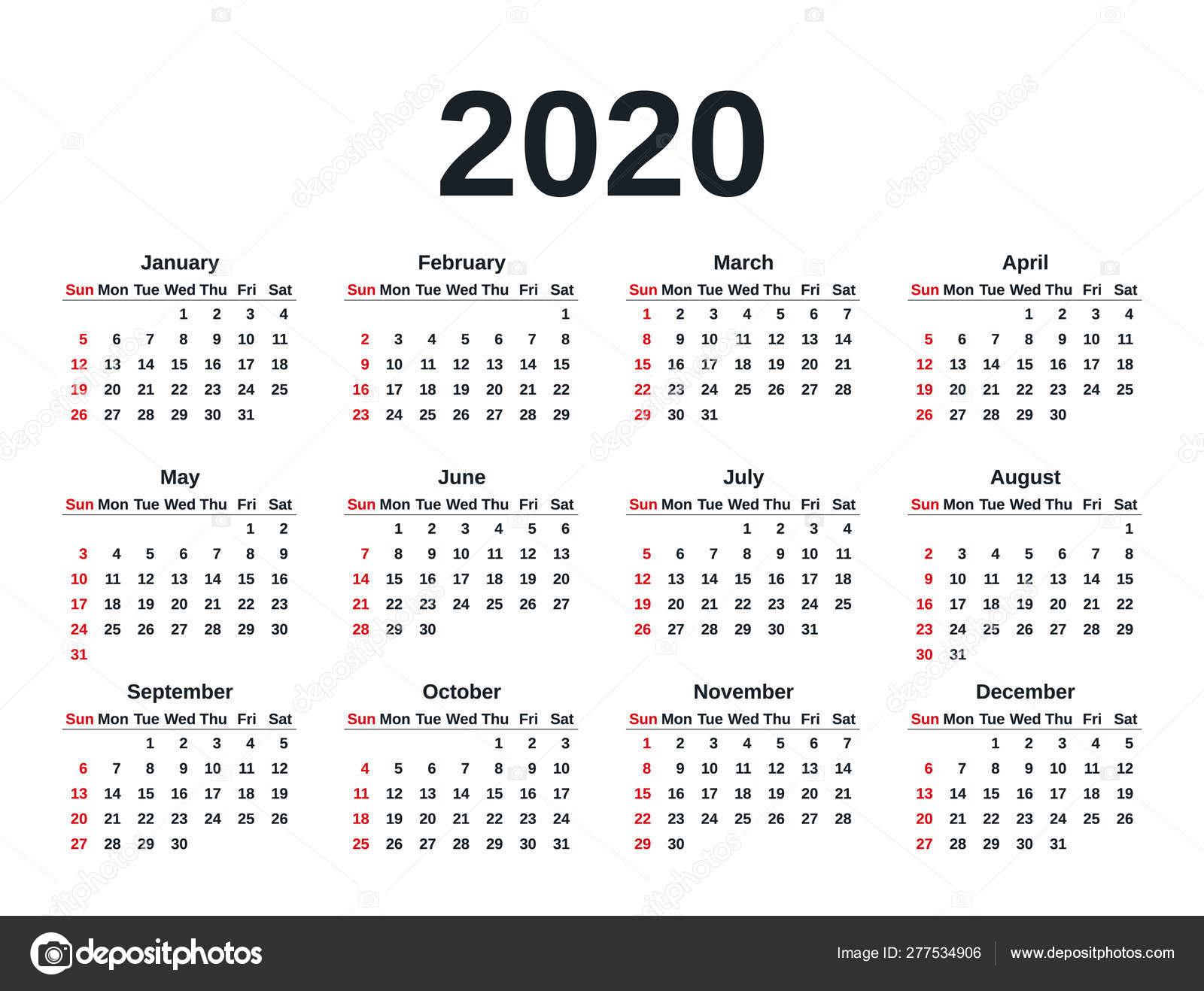 2020 Календарный Год. Векторная Иллюстрация. Планировщик