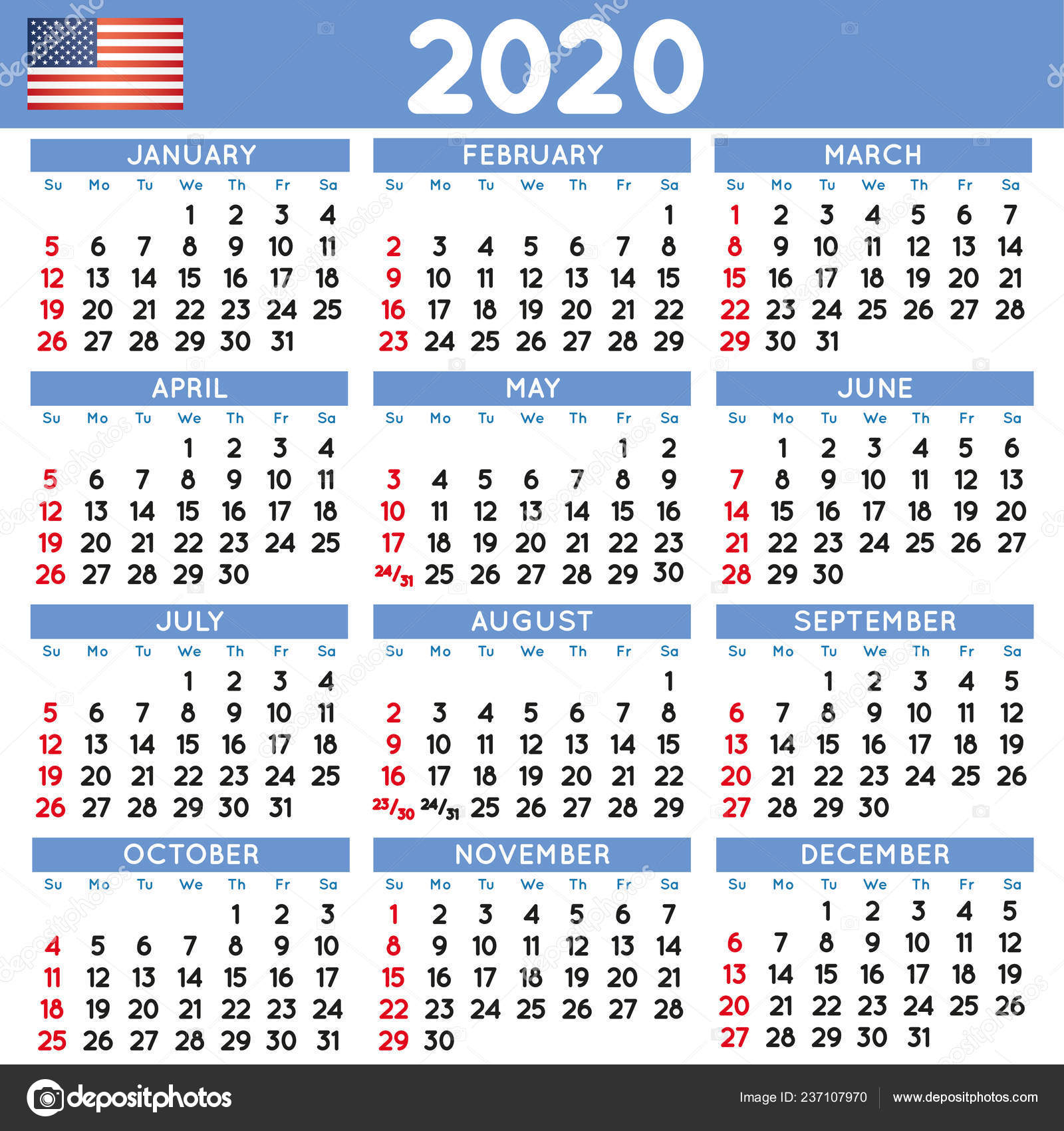 2020 Elegant Squared Calendar English Usa Year 2020 Calendar