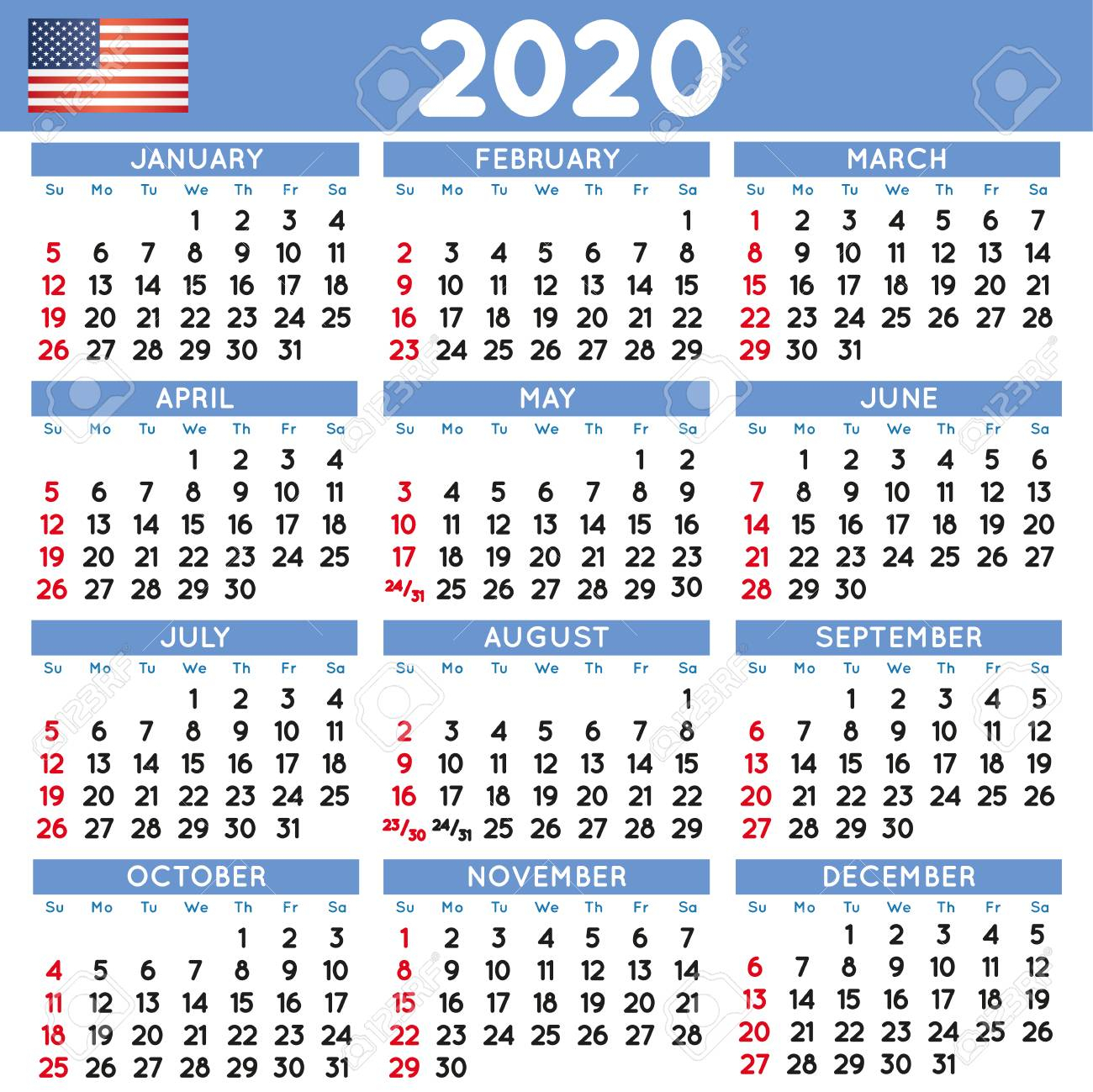 2020 Elegant Squared Calendar English Usa. Year 2020 Calendar