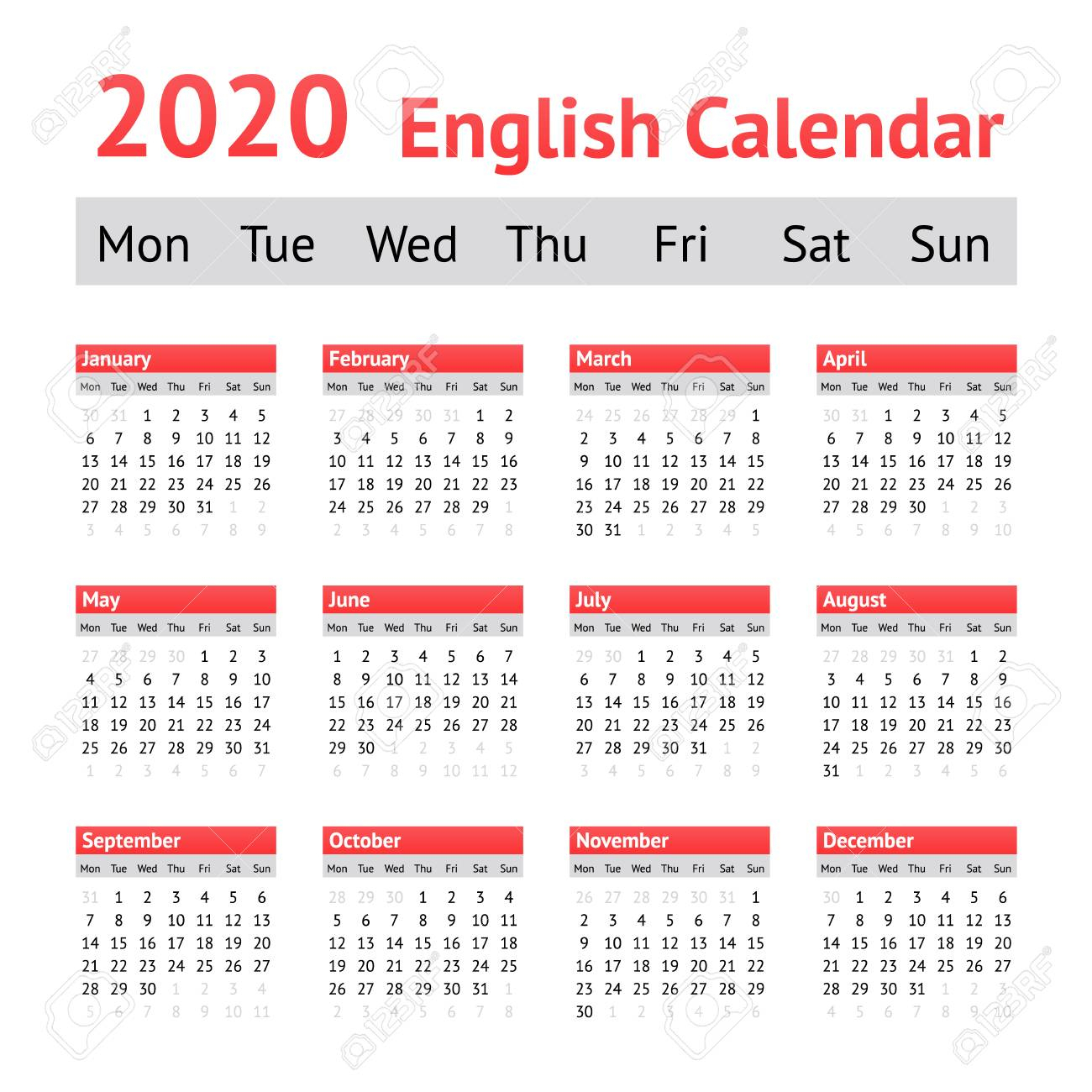 2020 European English Calendar. Week Starts On Monday